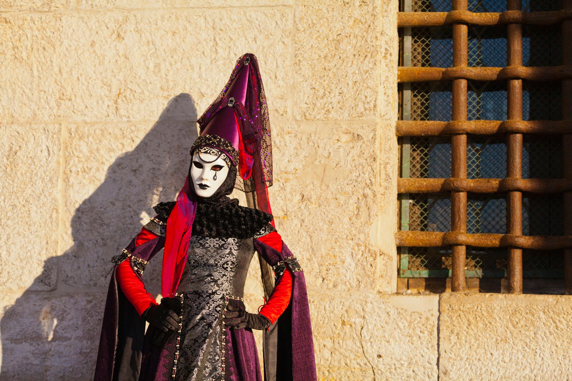Portrait of reveler at Venice carnival