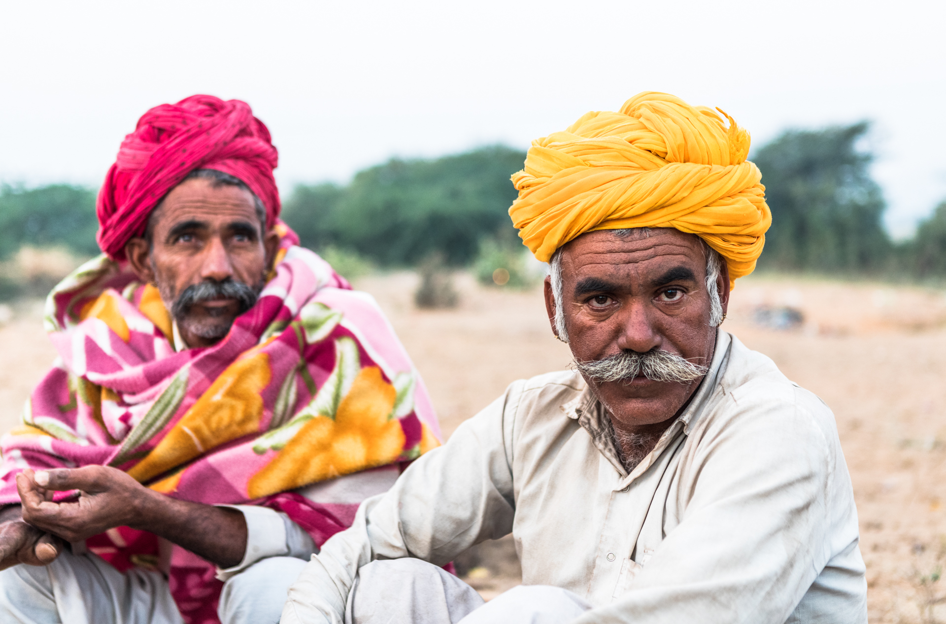 Portrait of two men in India