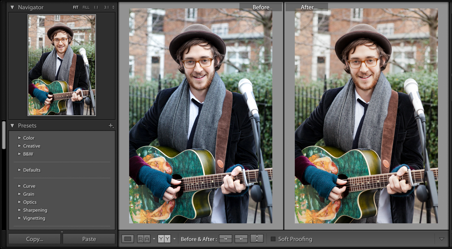 Screenshot showing a portrait photo being edited in Adobe Lightroom