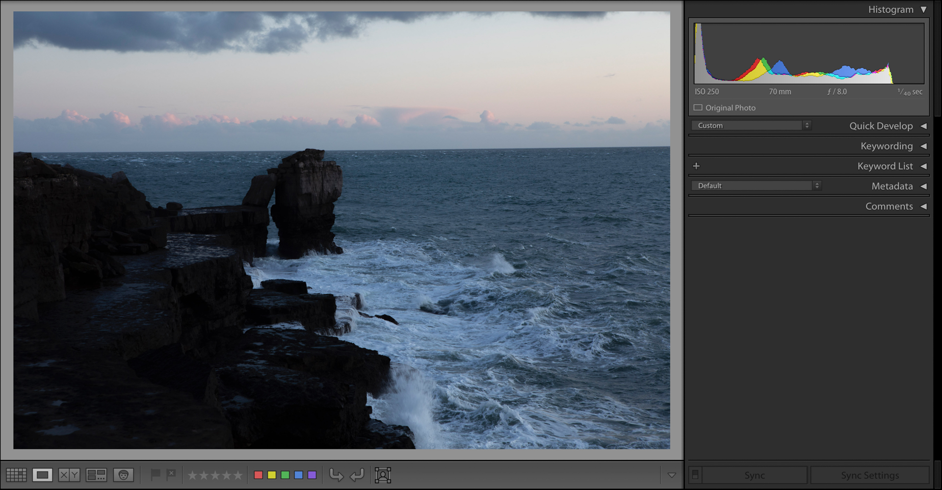 Lightroom screenshot showing an underexposed image with clipped blacks