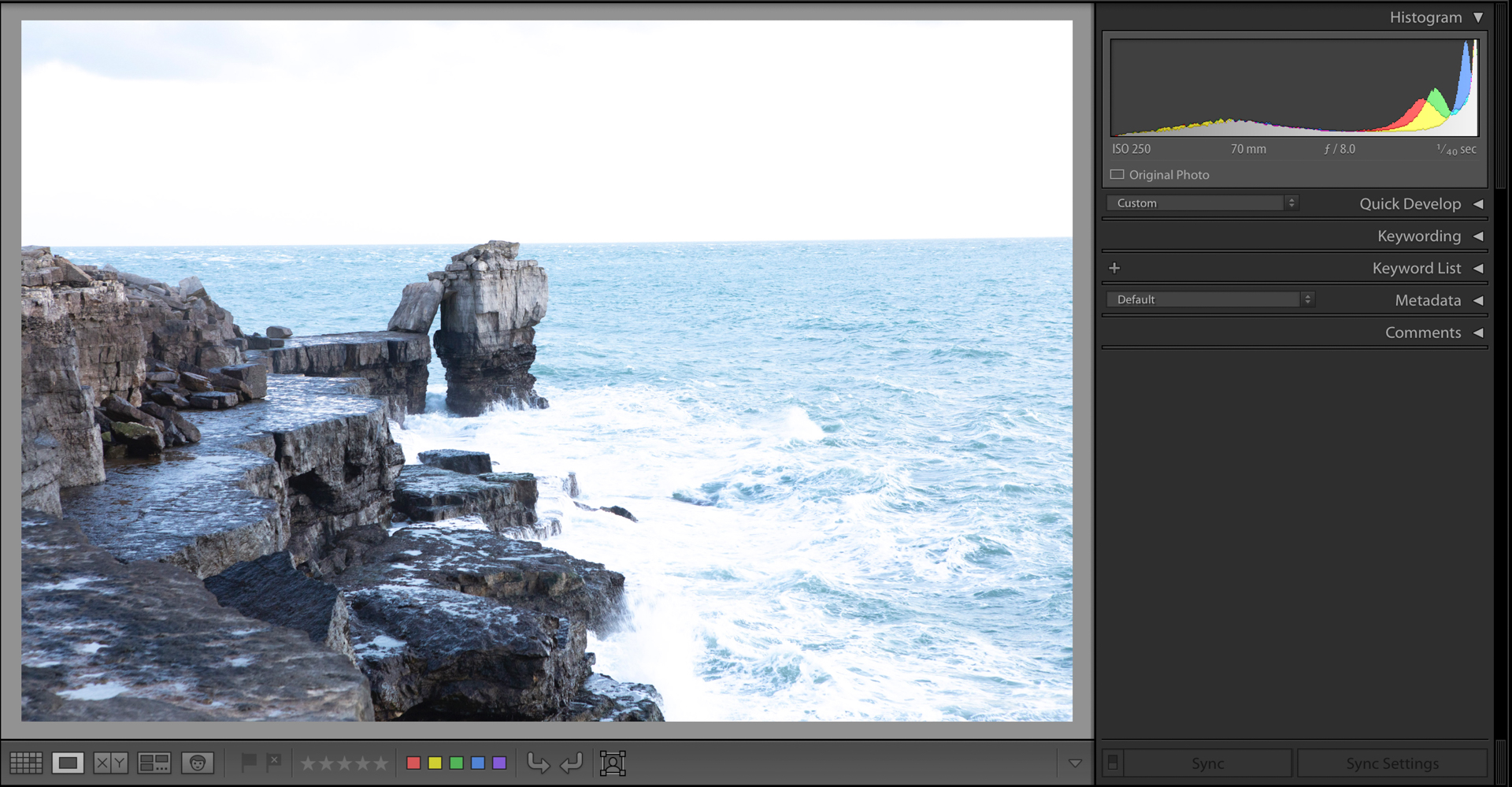 Lightroom screenshot showing an overexposed image with clipped whites