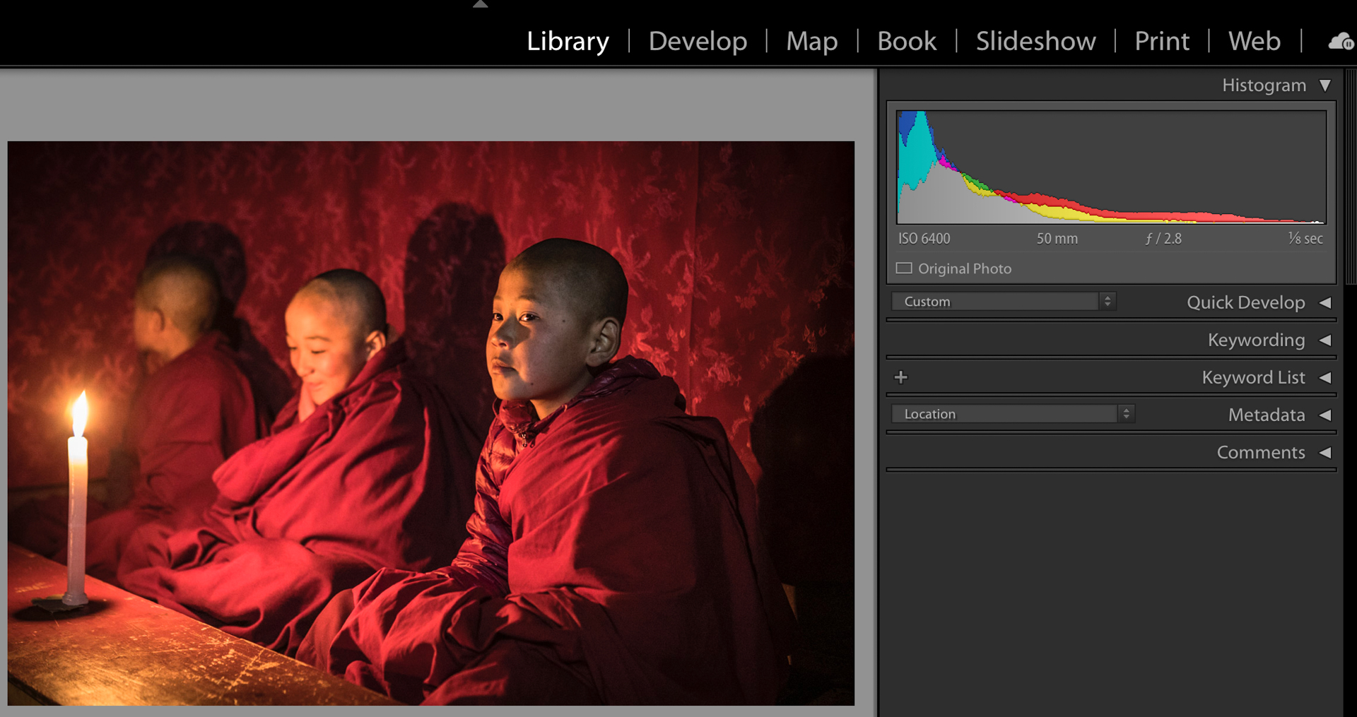 Lightroom screenshot showng an image of young monks, along with the histogram of the image