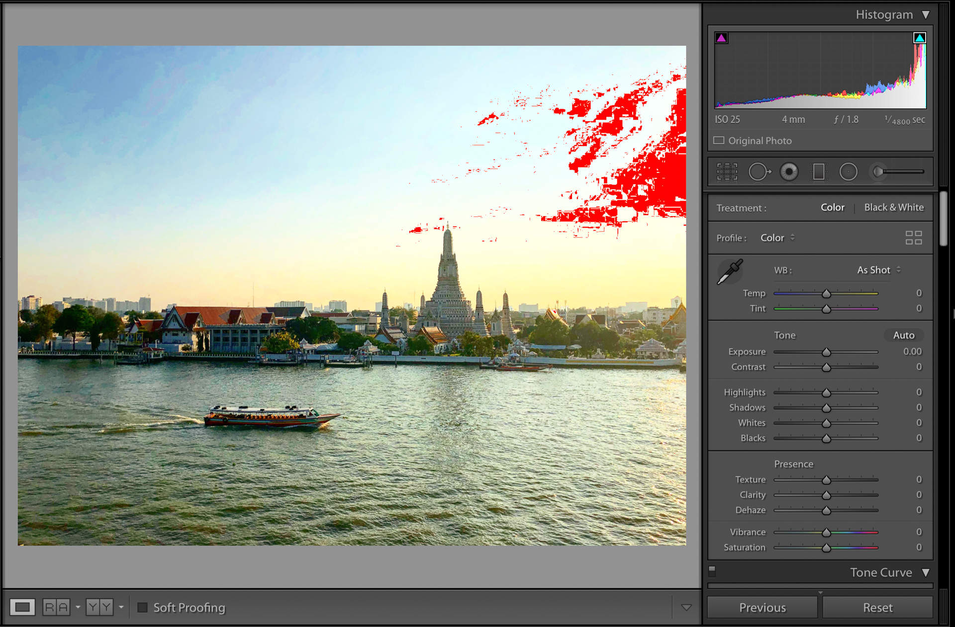 """Lightroom screenshot showing the clipped highlights (white areas) as seen in Lightroom's """"Develop"""" module."""