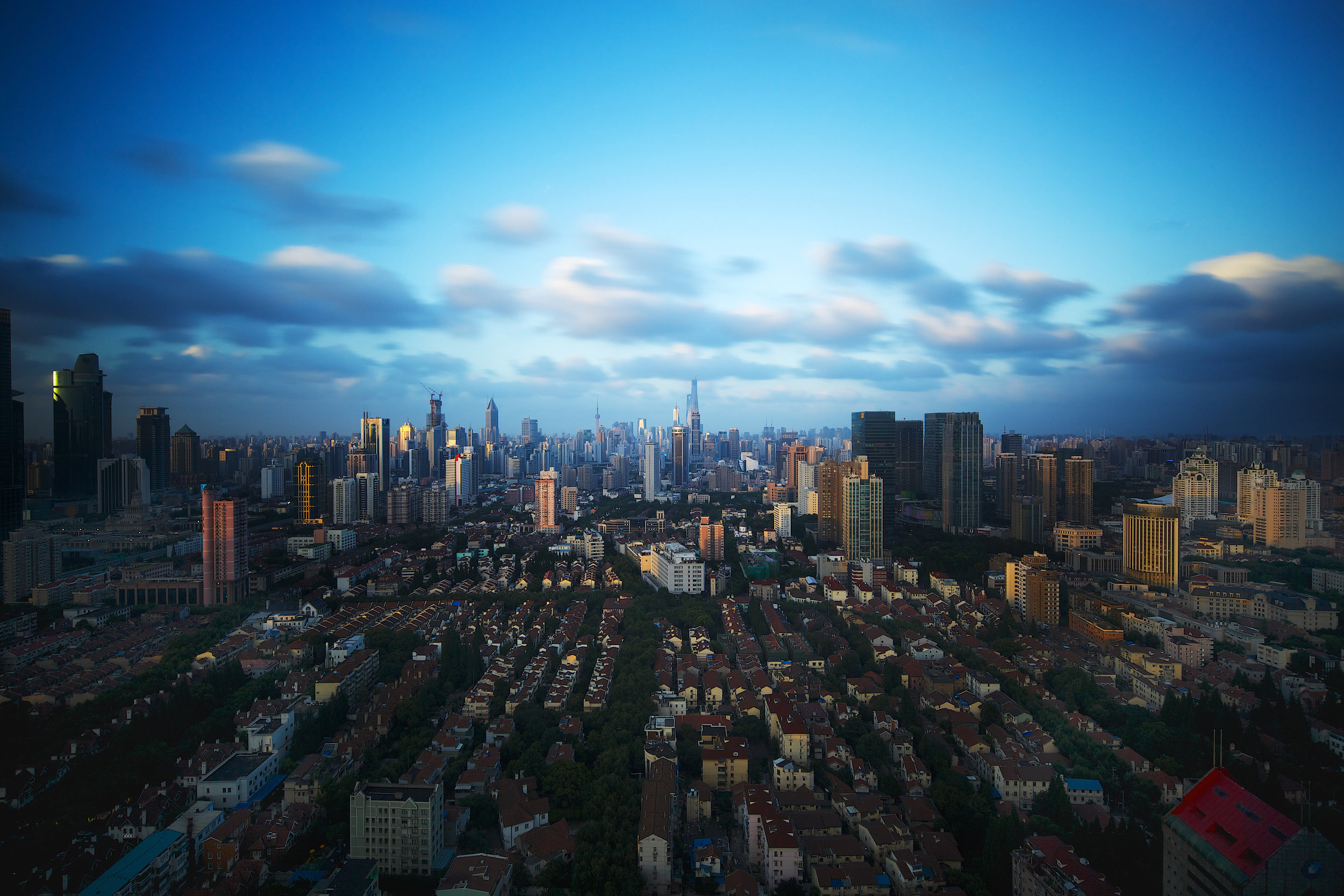 Blue hour cityscape of Shanghai, China