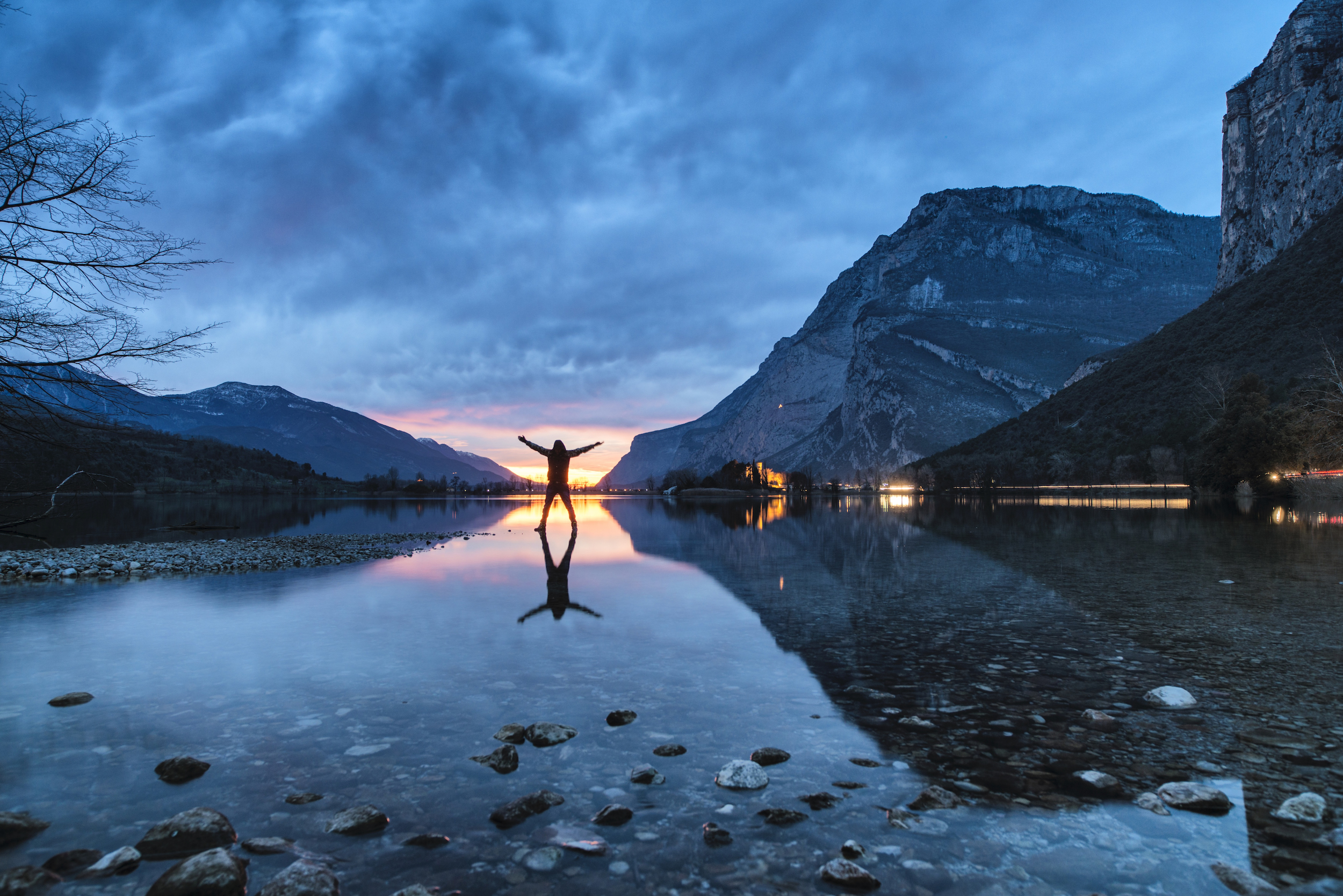 Blue hour on Lake Toblino, Northern Italy.