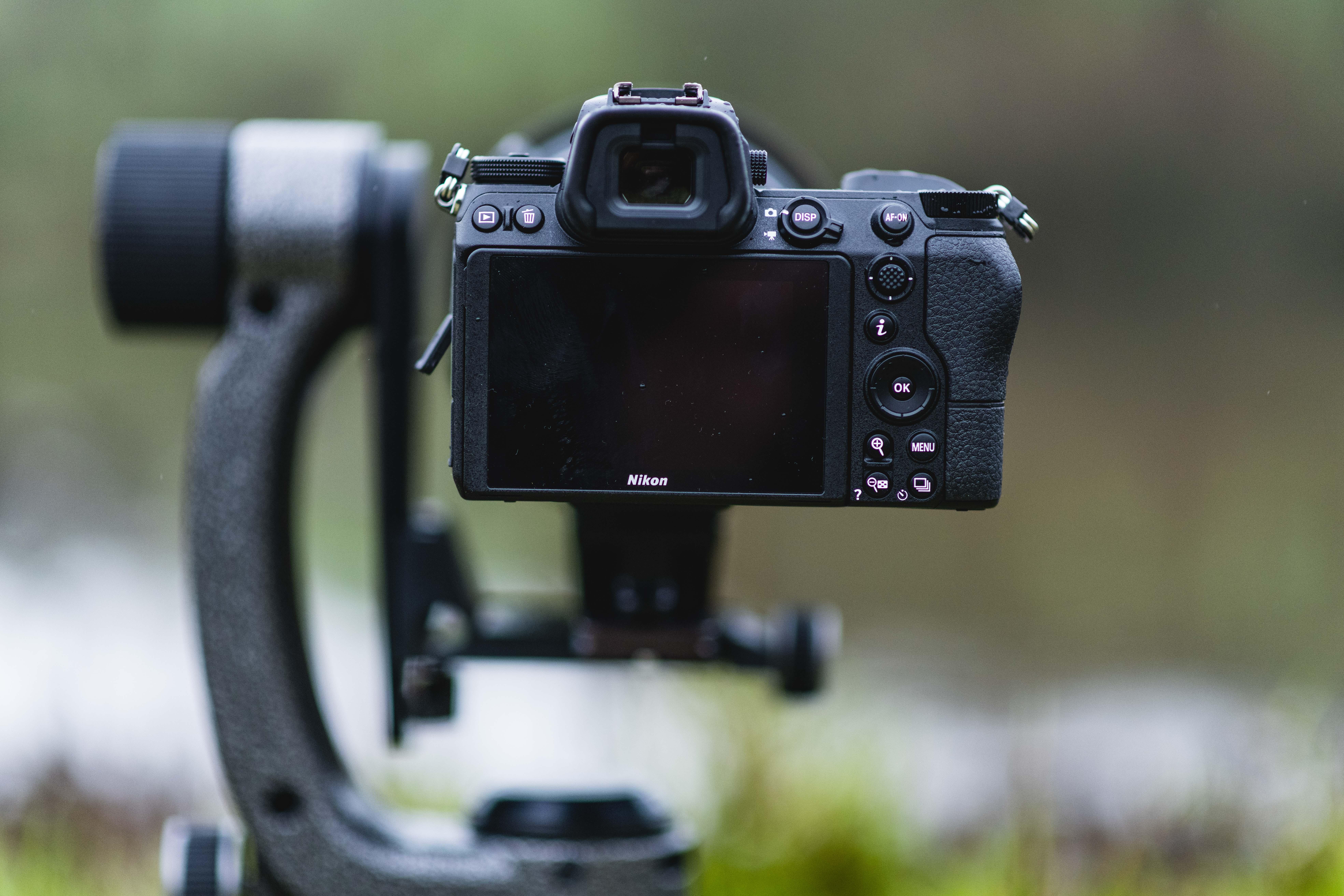 Mirrorless camera on a tripod setup