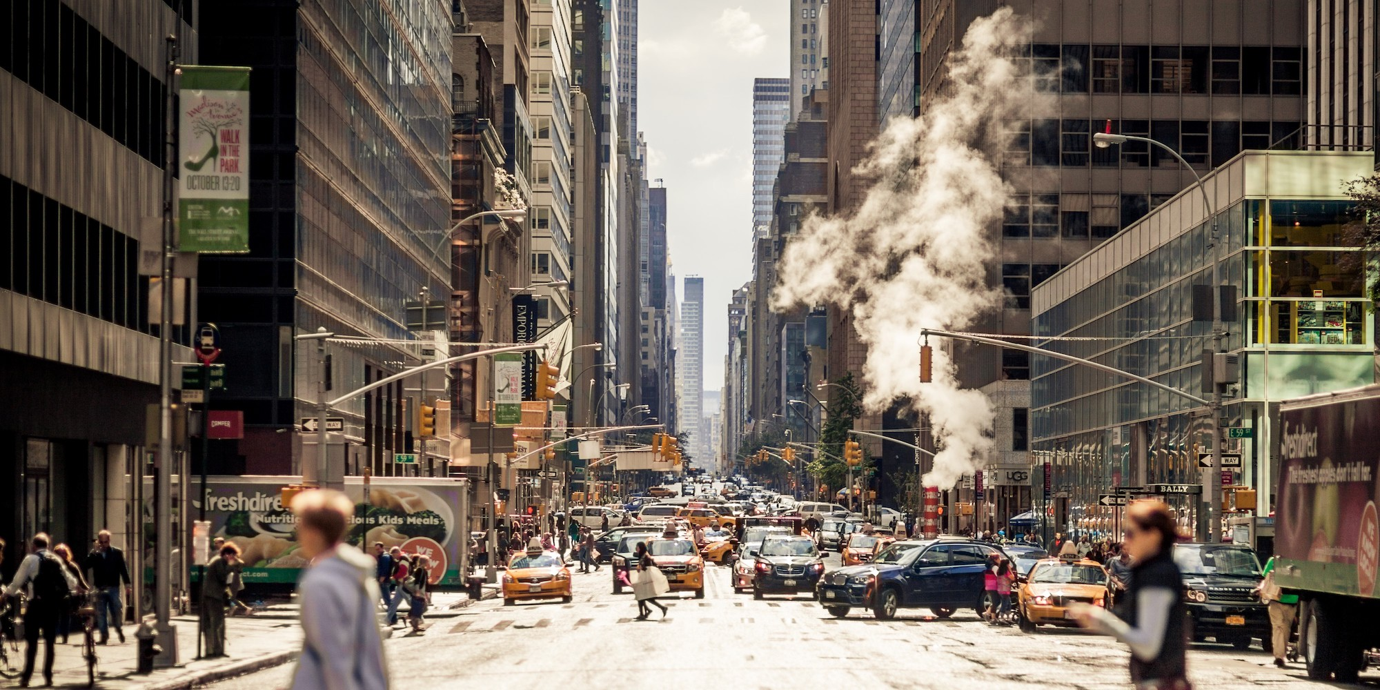 Looking down the street in New York City