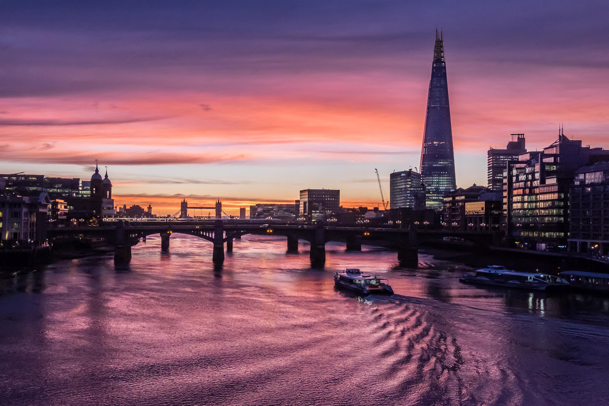 Dawn at the River Thames, London