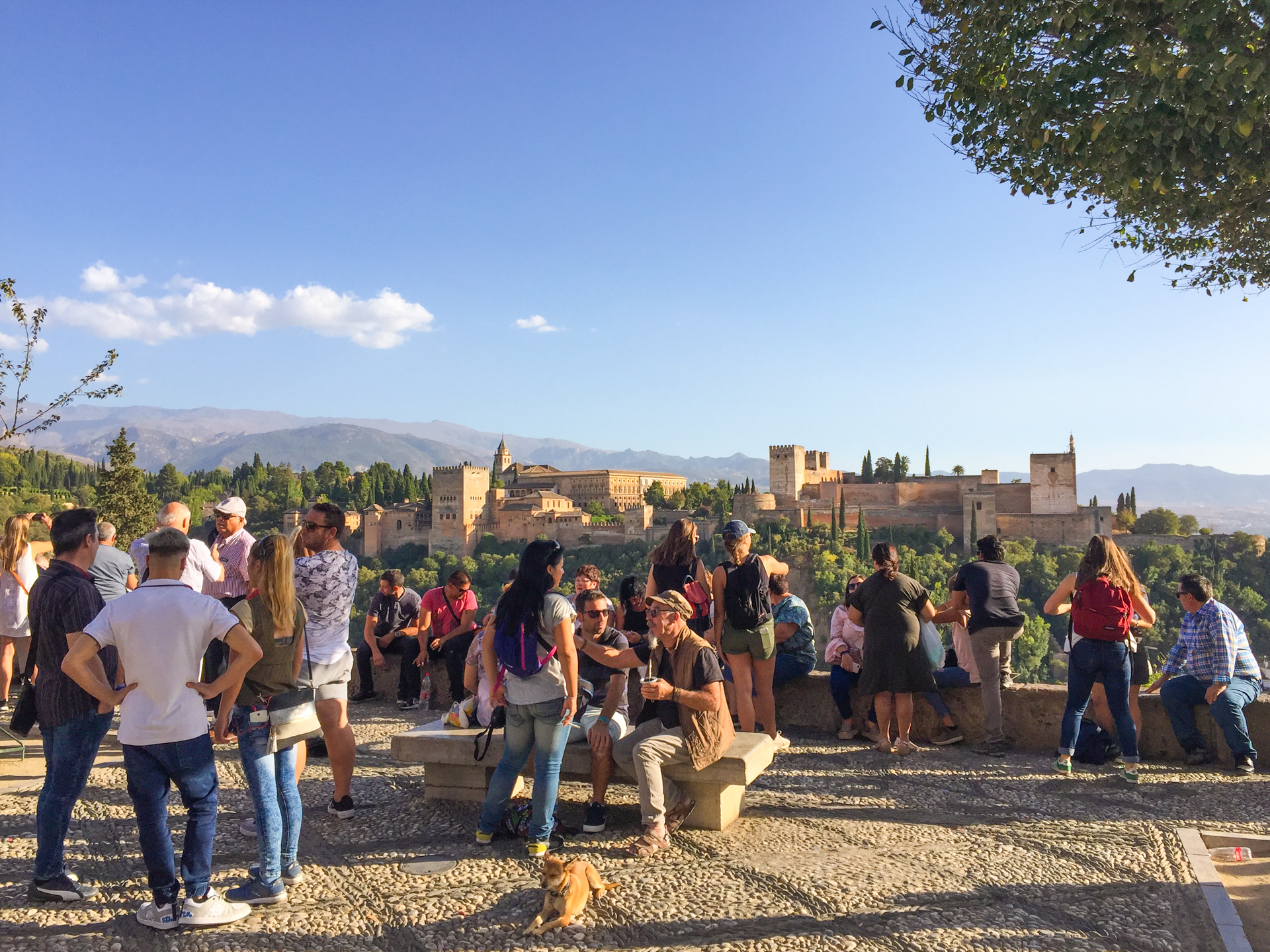 Crowds at Alhambra viewpoint, Granada in the afternoon.