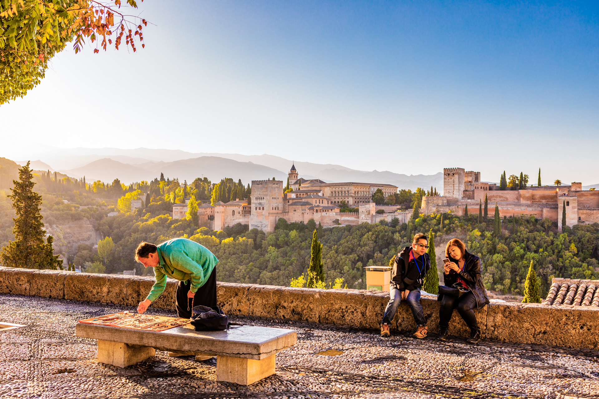 A quiet Alhambra viewpoint, Granada, Spain, in the early morning