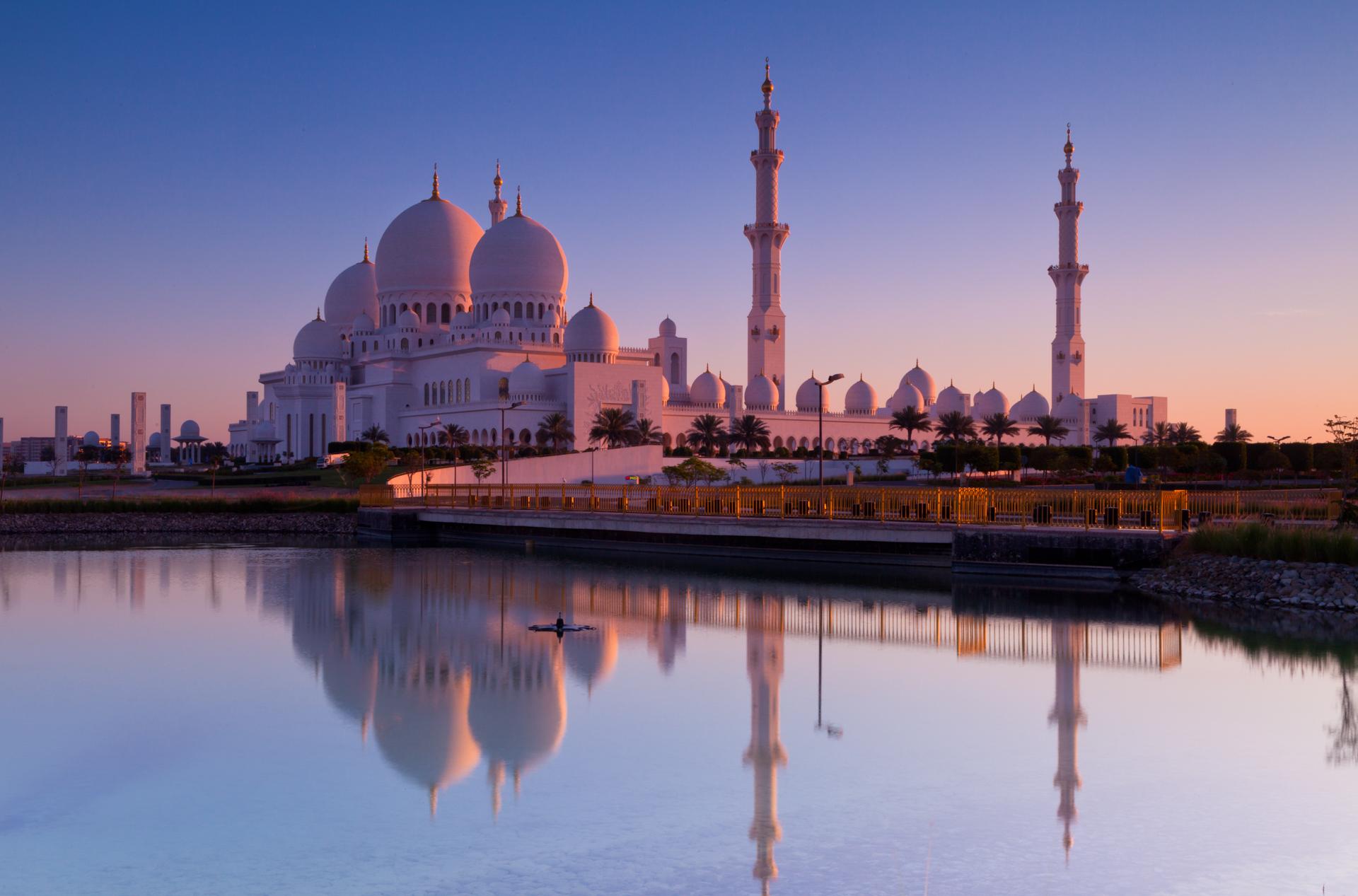Dawn at the Sheikh Zayed Grand Mosque, Abu Dhabi.