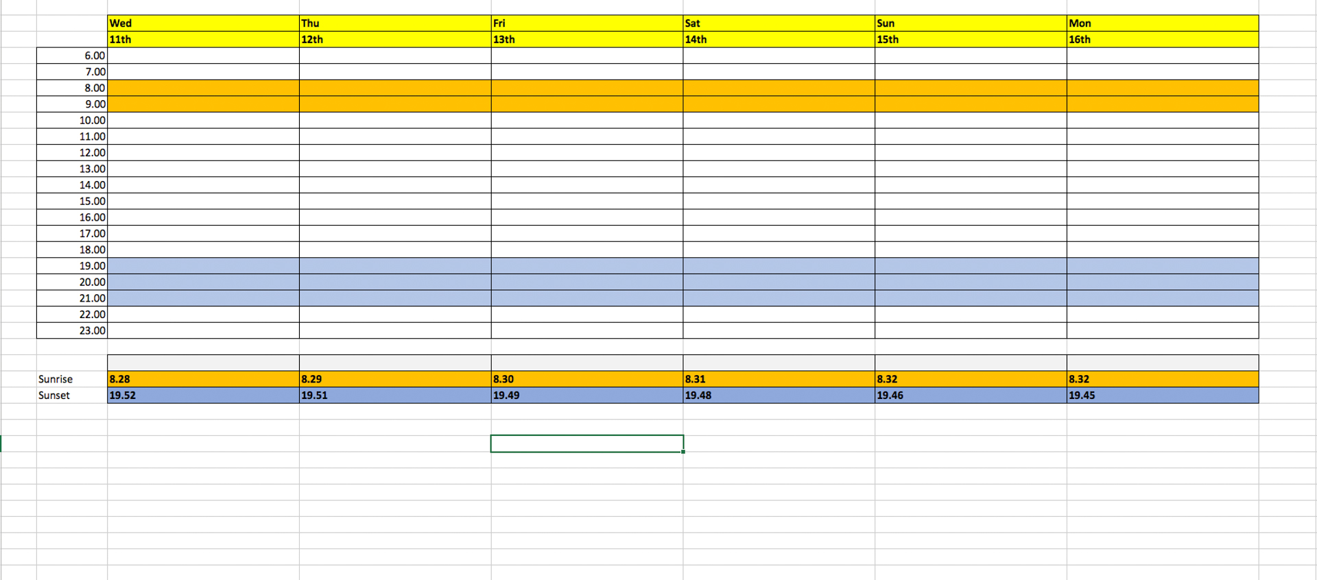 Spreadsheet to show photoshoot planning
