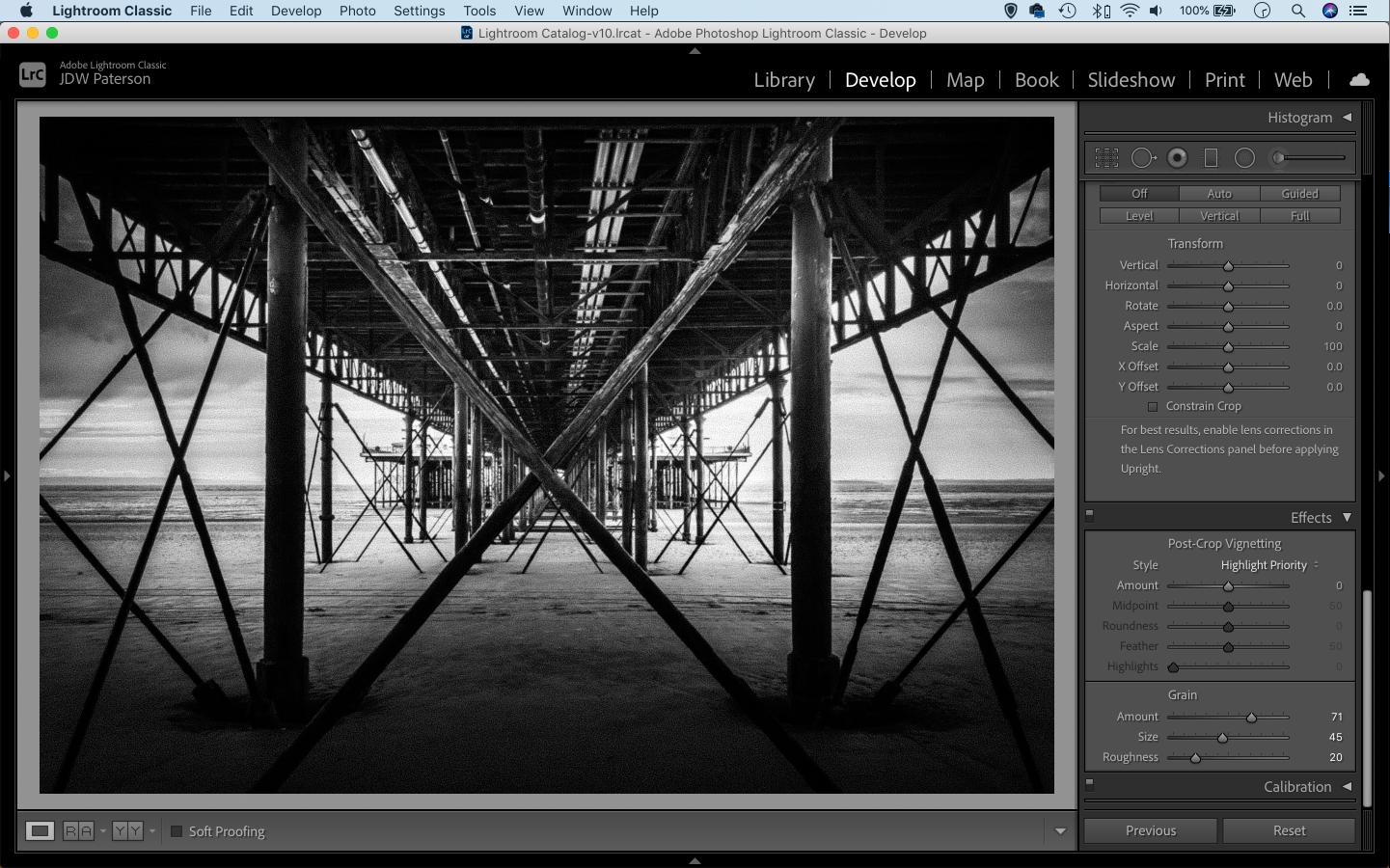 Sceenshot of the grain sliders in Adobe Lightroom