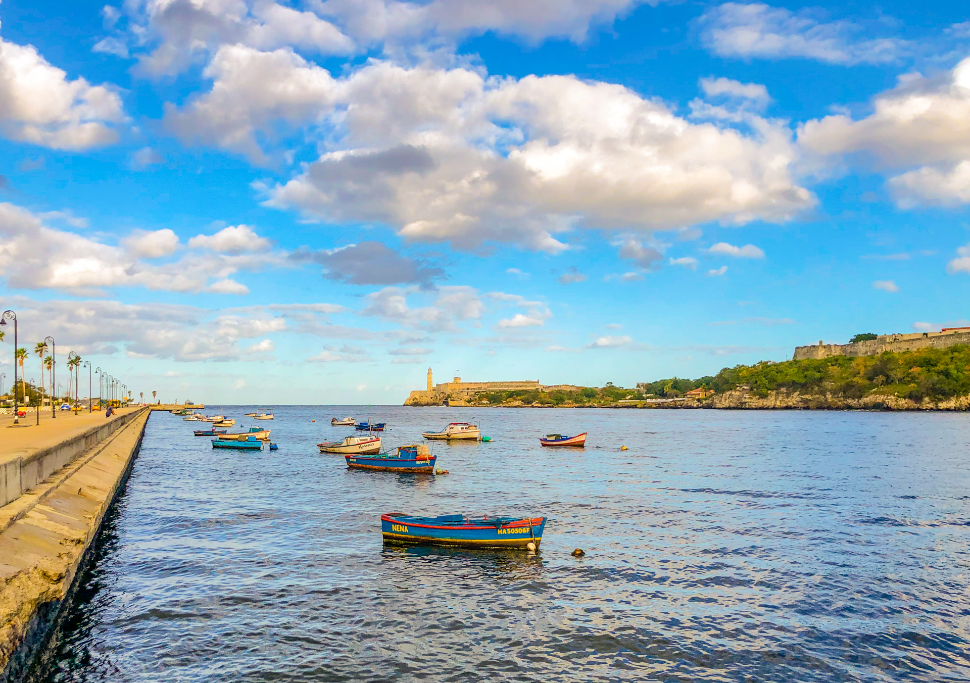 Port scene with boats in the water with a gradient applied to saturate the colours