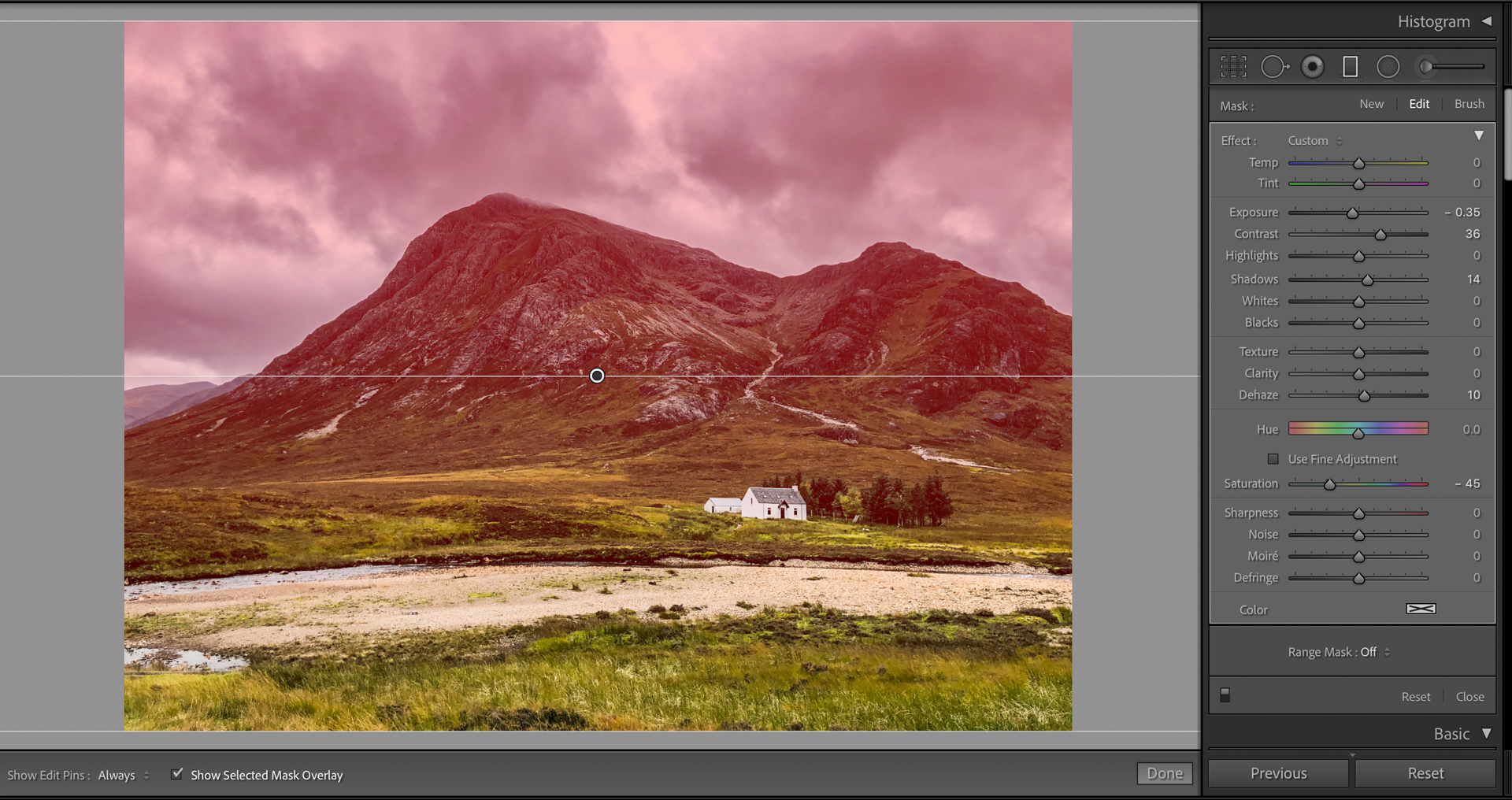 A linear gradient placed over the top half of an image (in red) in Lightroom