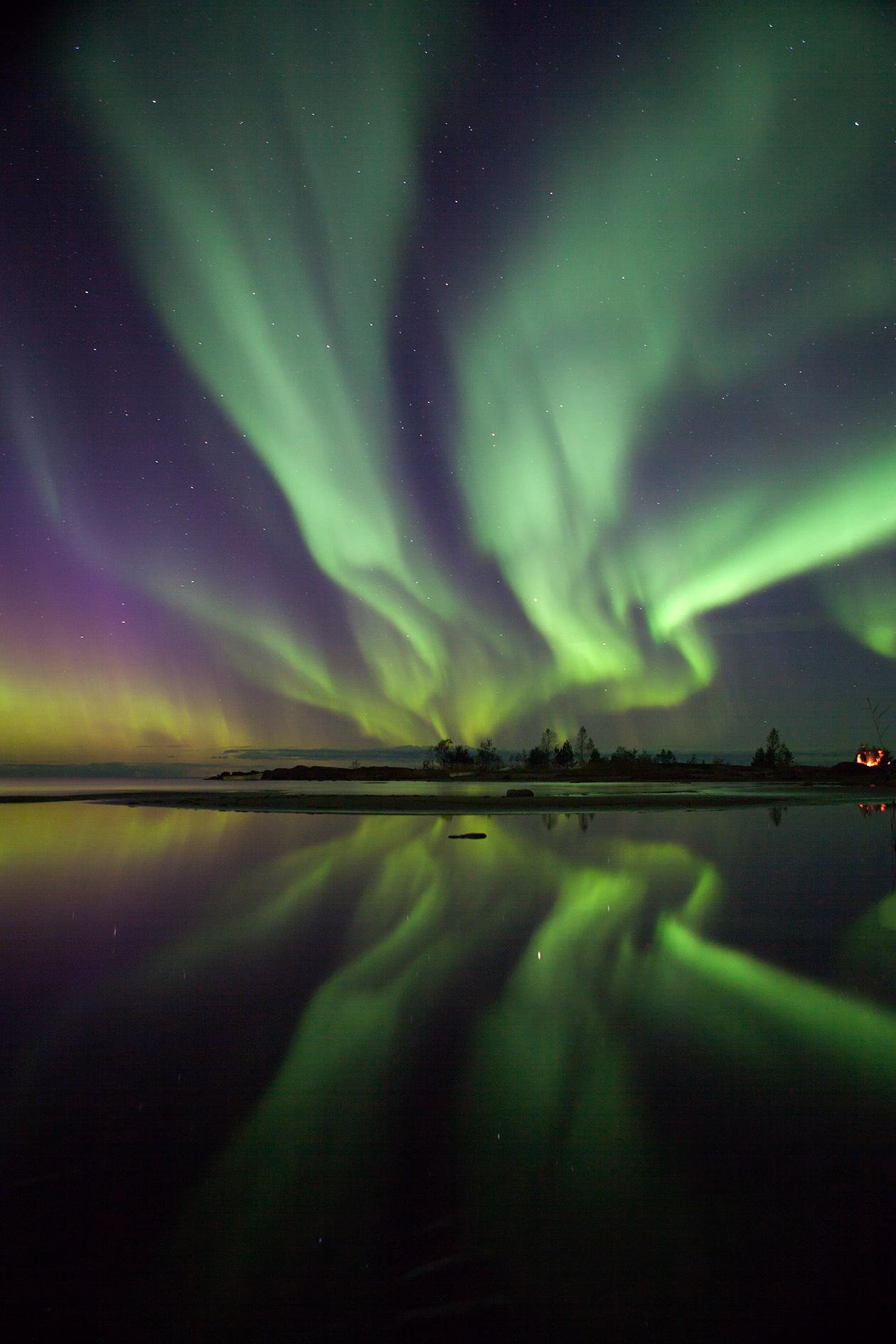 The Aurora Borealis (Northern Lights) in Jakobstad, Finland