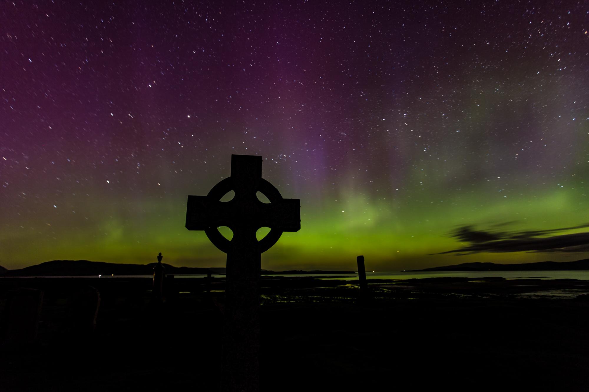 The aurora boralis over the Isle of Skye