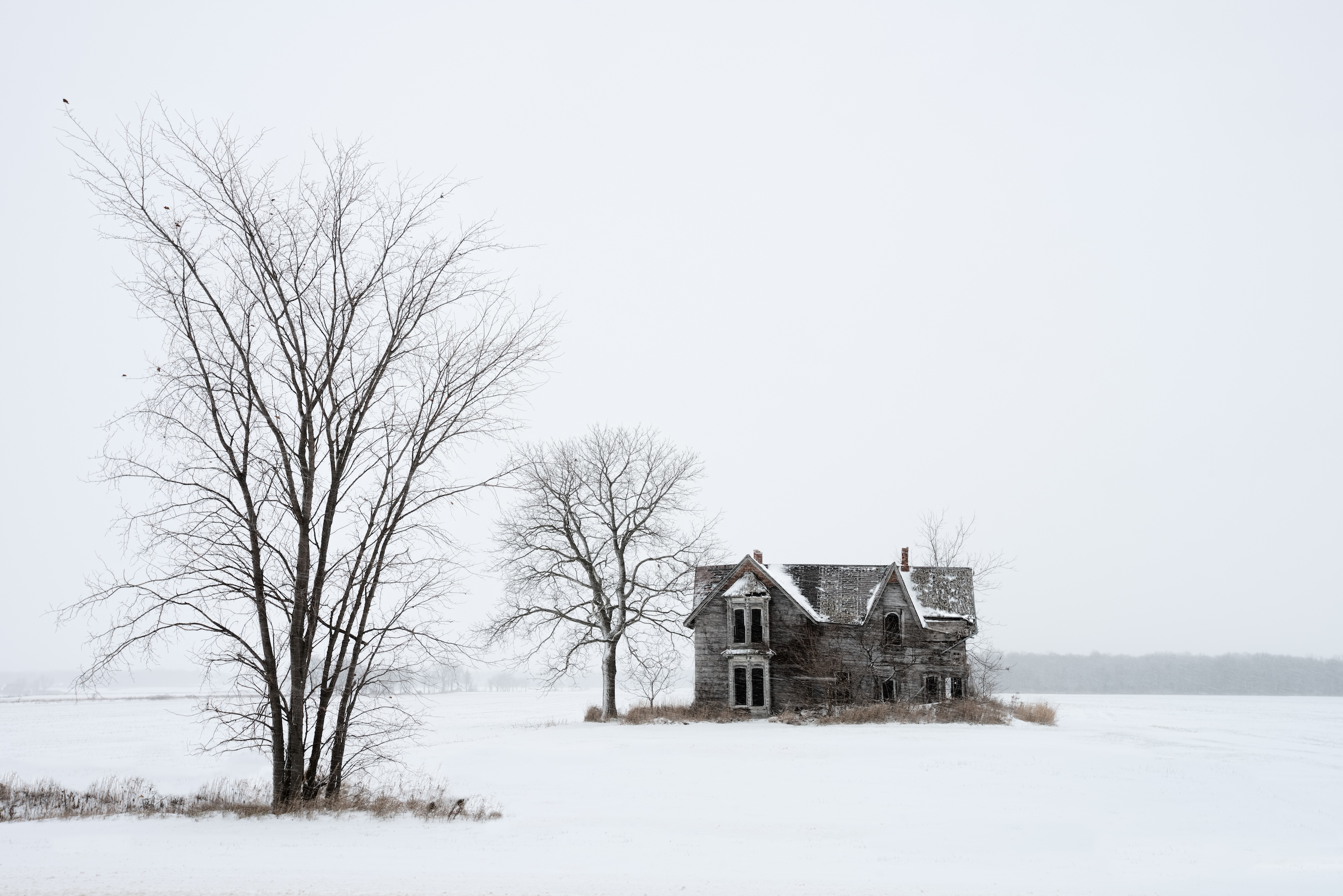 Winter scene of an abandoned farmhouse in Muirkirk, Ontario, Canada
