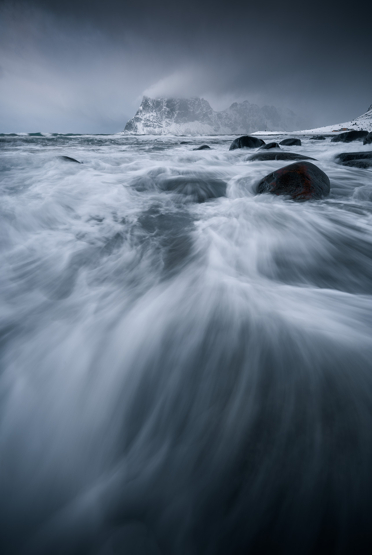 Winter seascape with crashing waves at Lofoten, Norway