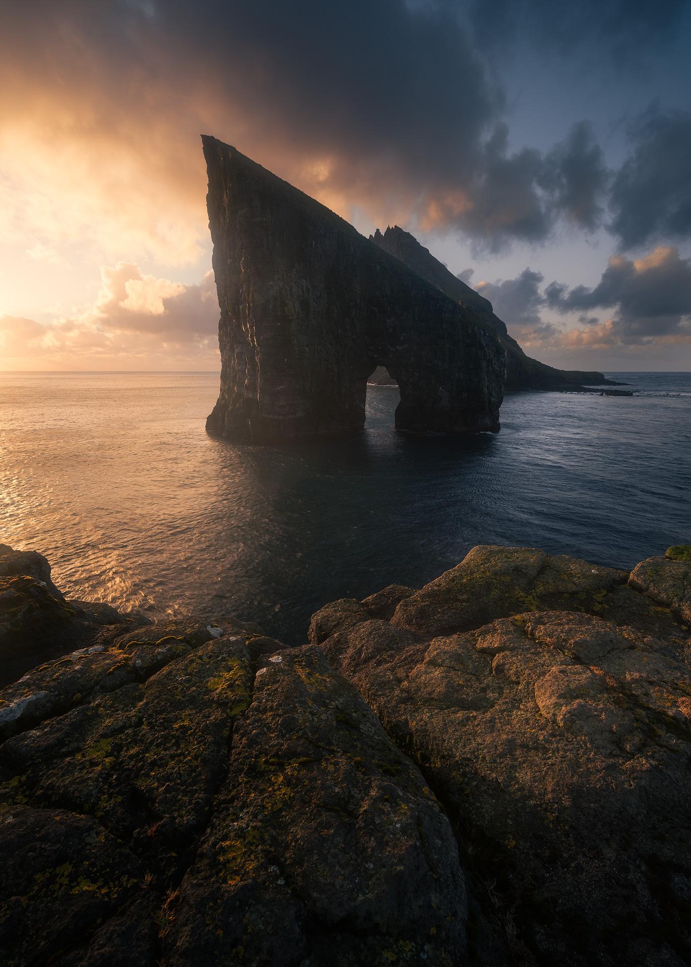 Golden hour seascape at the Faroe Islands