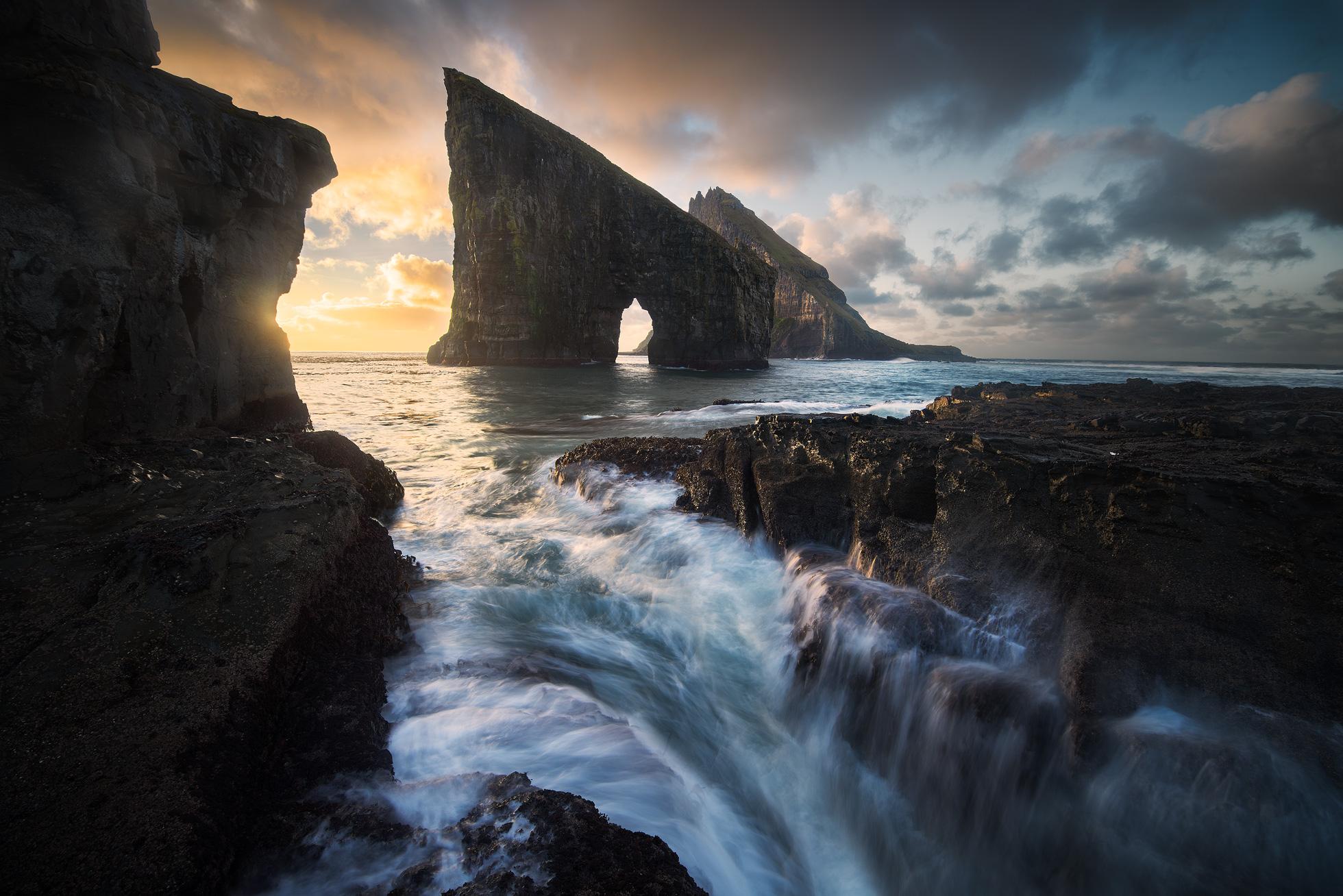 Golden hour long exposure seascape at the Faroe Islands
