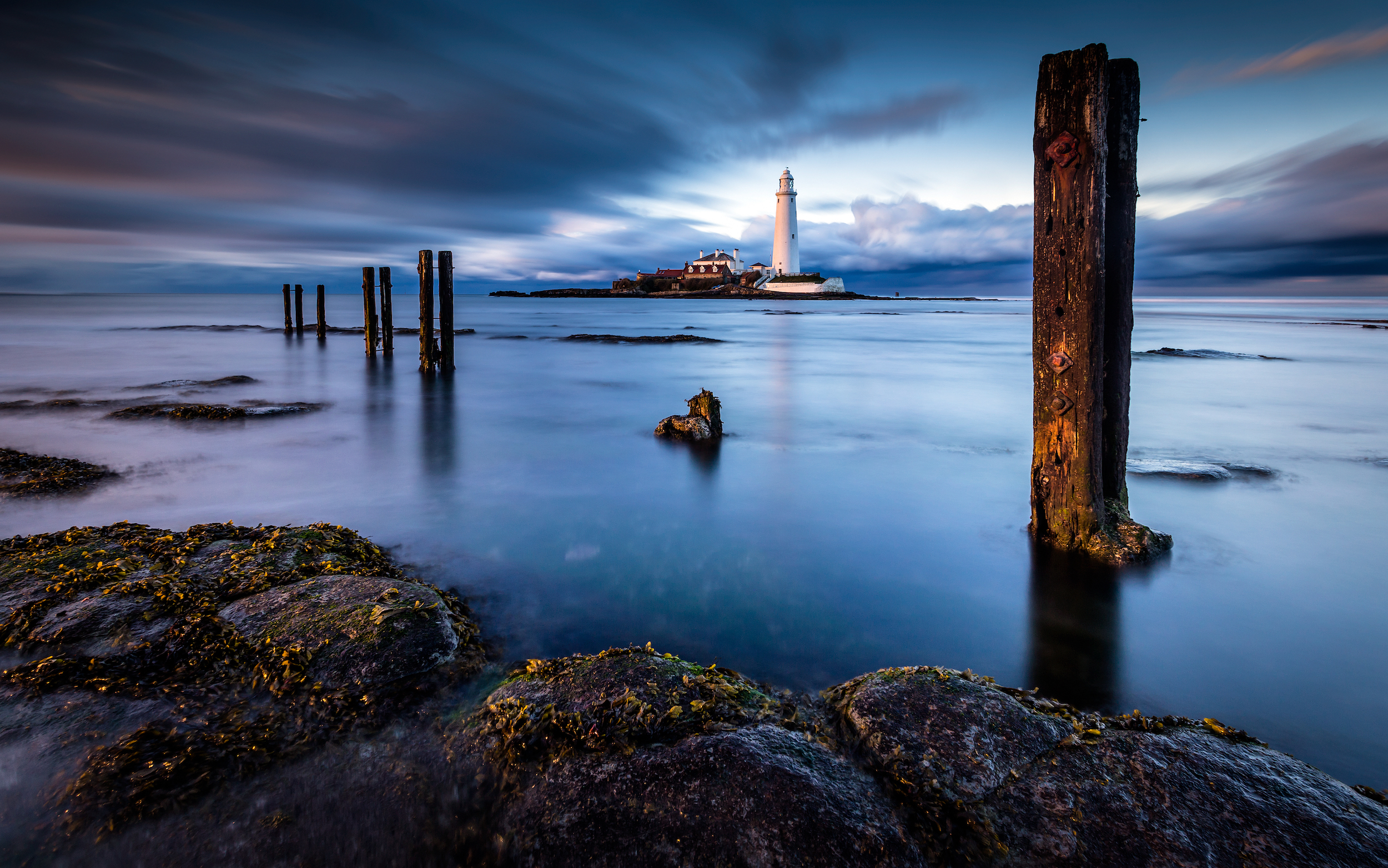 Long exposure seascape at St Mary's Lighthouse, Whitley Bay, England