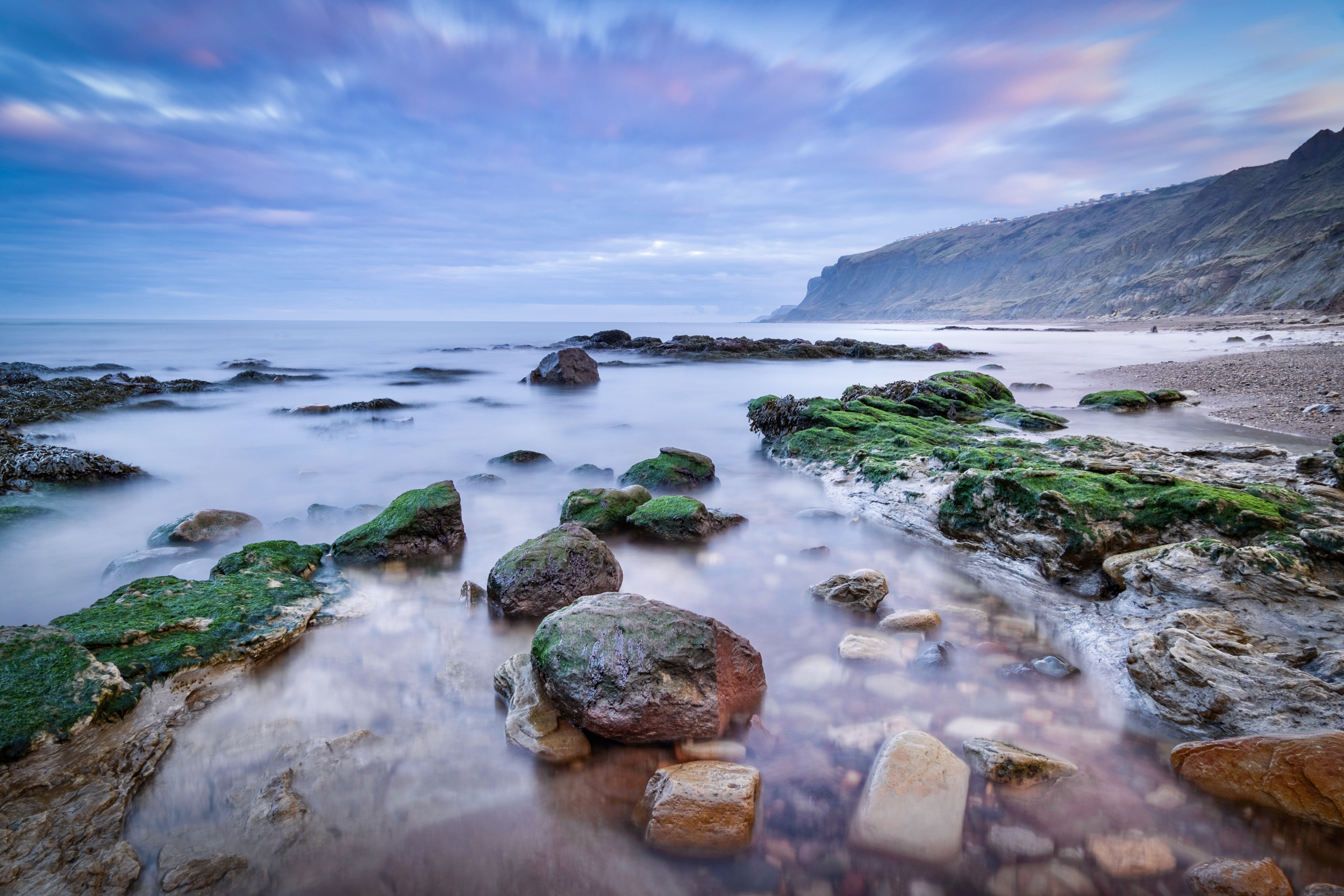 Long exposure seascape at Cayton Bay, North Yorkshire, England