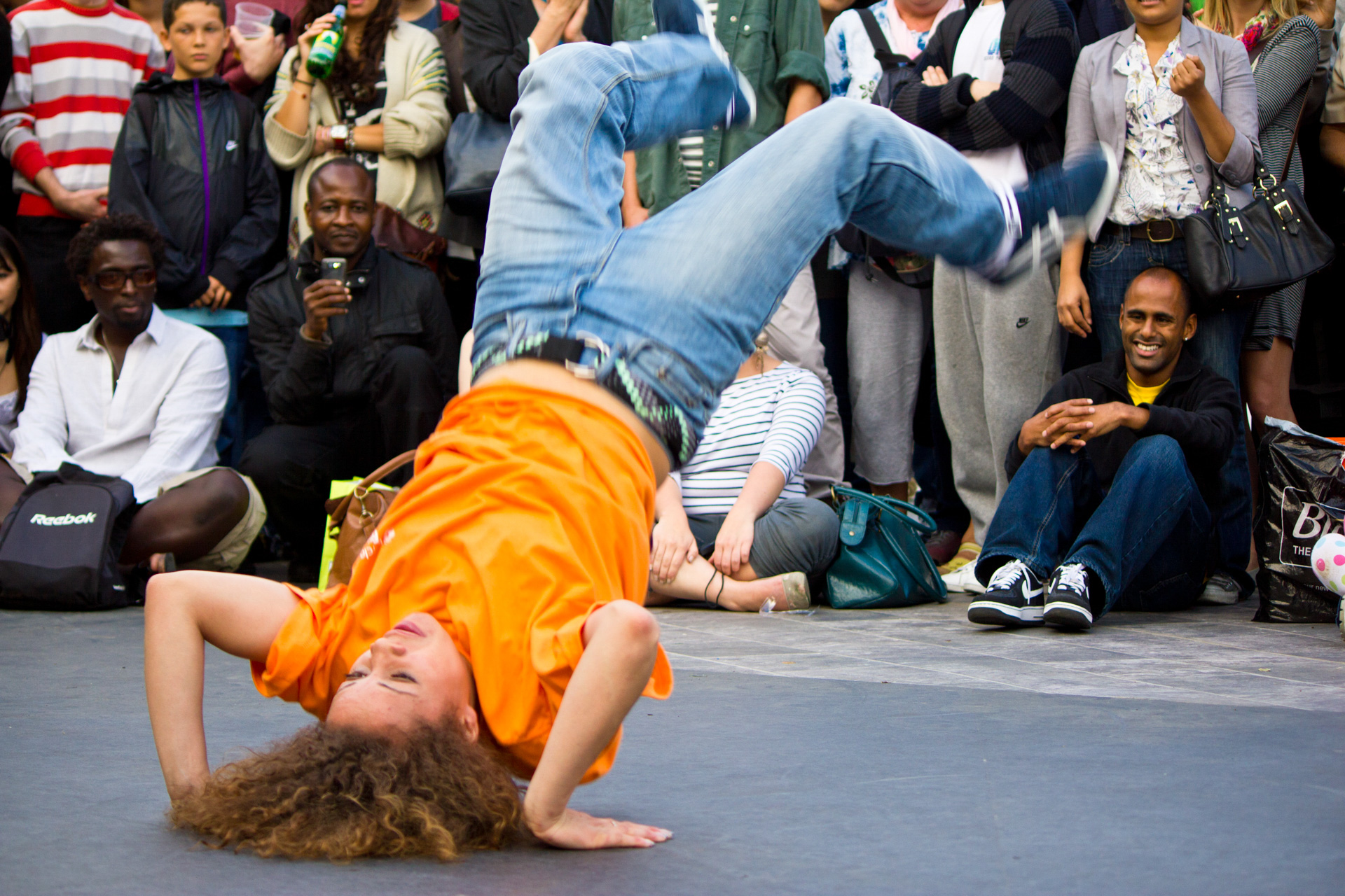 A street dancer with a hint of motion blur