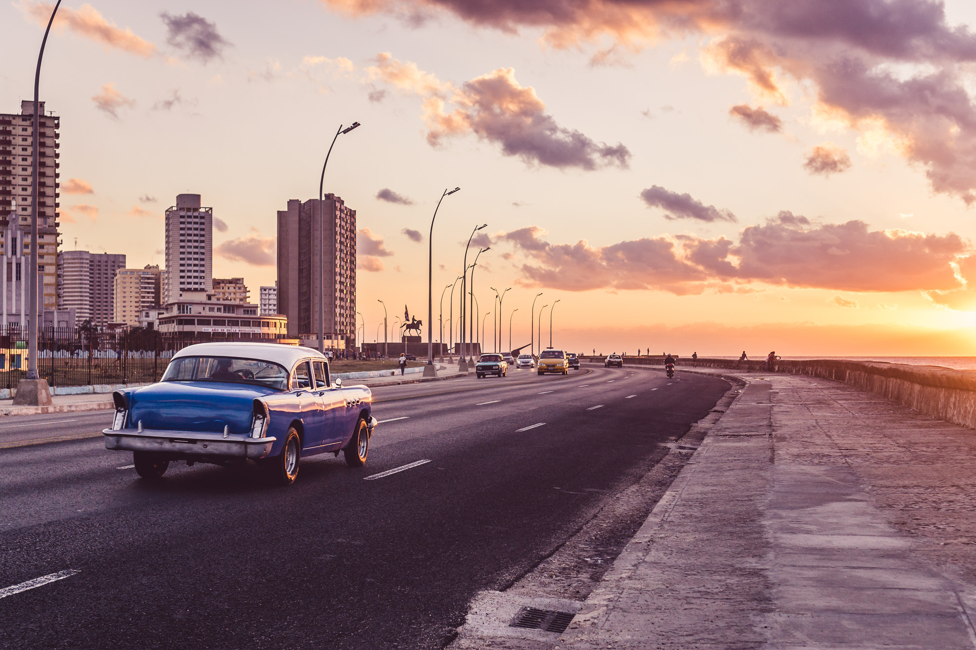 Golden hour street scene in Havana, Cuba