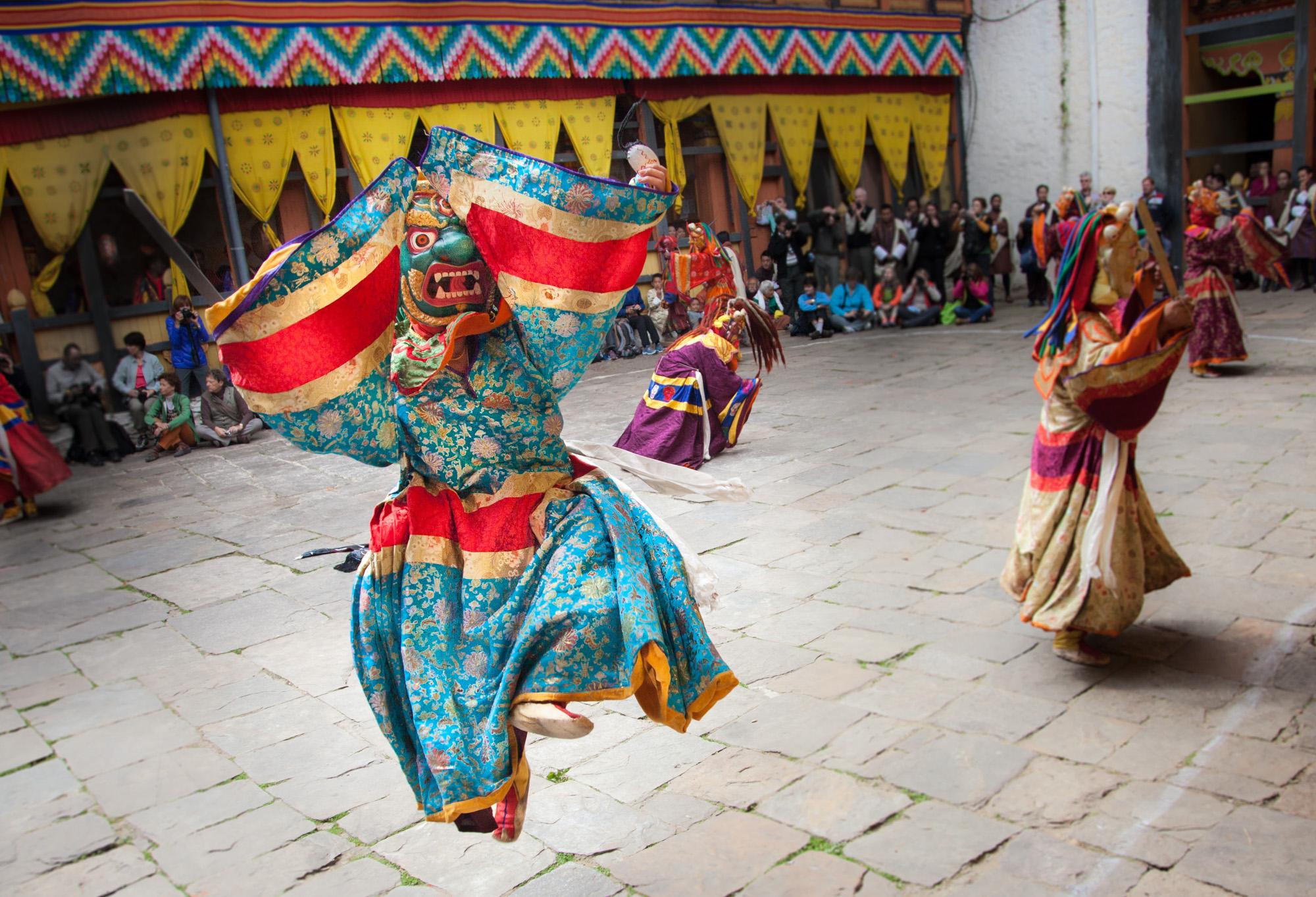 Dancer depicting the devil at the annual Buddhist Festival at Jakar Monastry, eastern Bhutan