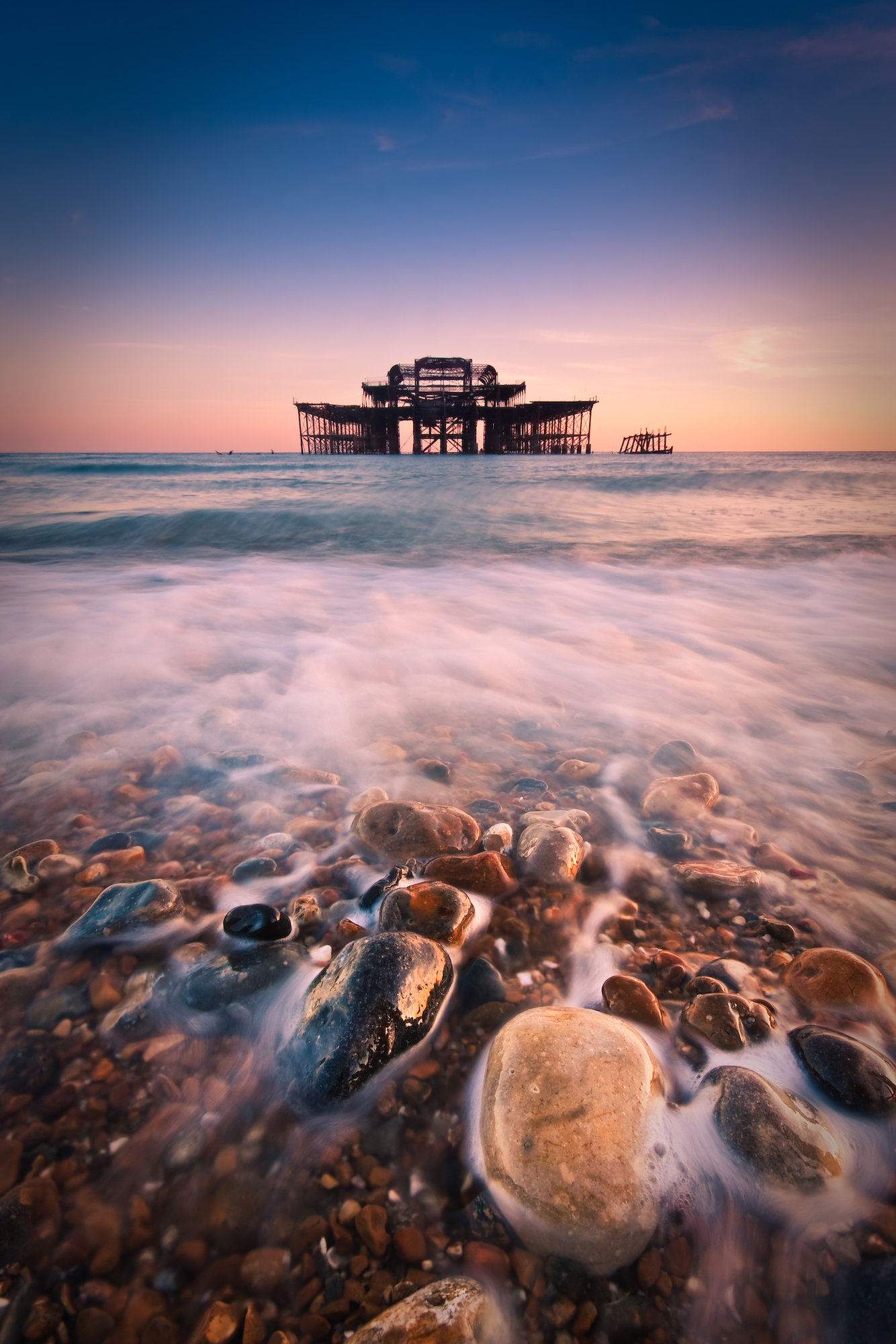 Long exposure of the incoming tide at BrightonWest Pier, Sussex, England