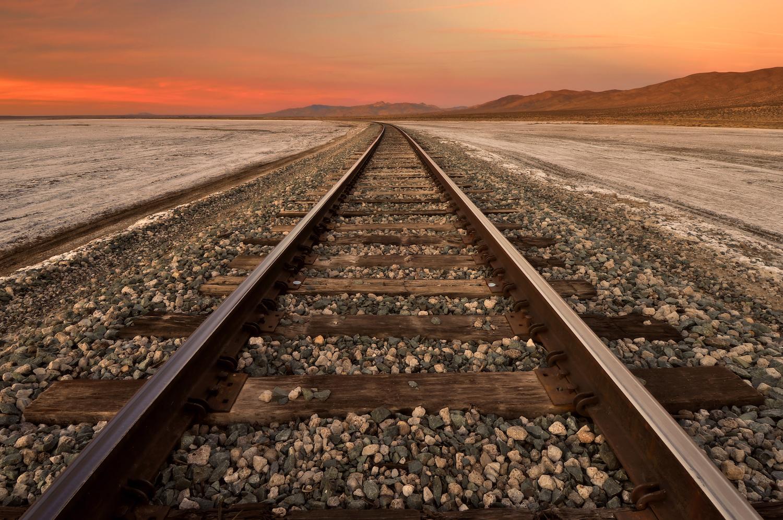 Train tracks through the Mojave Desert