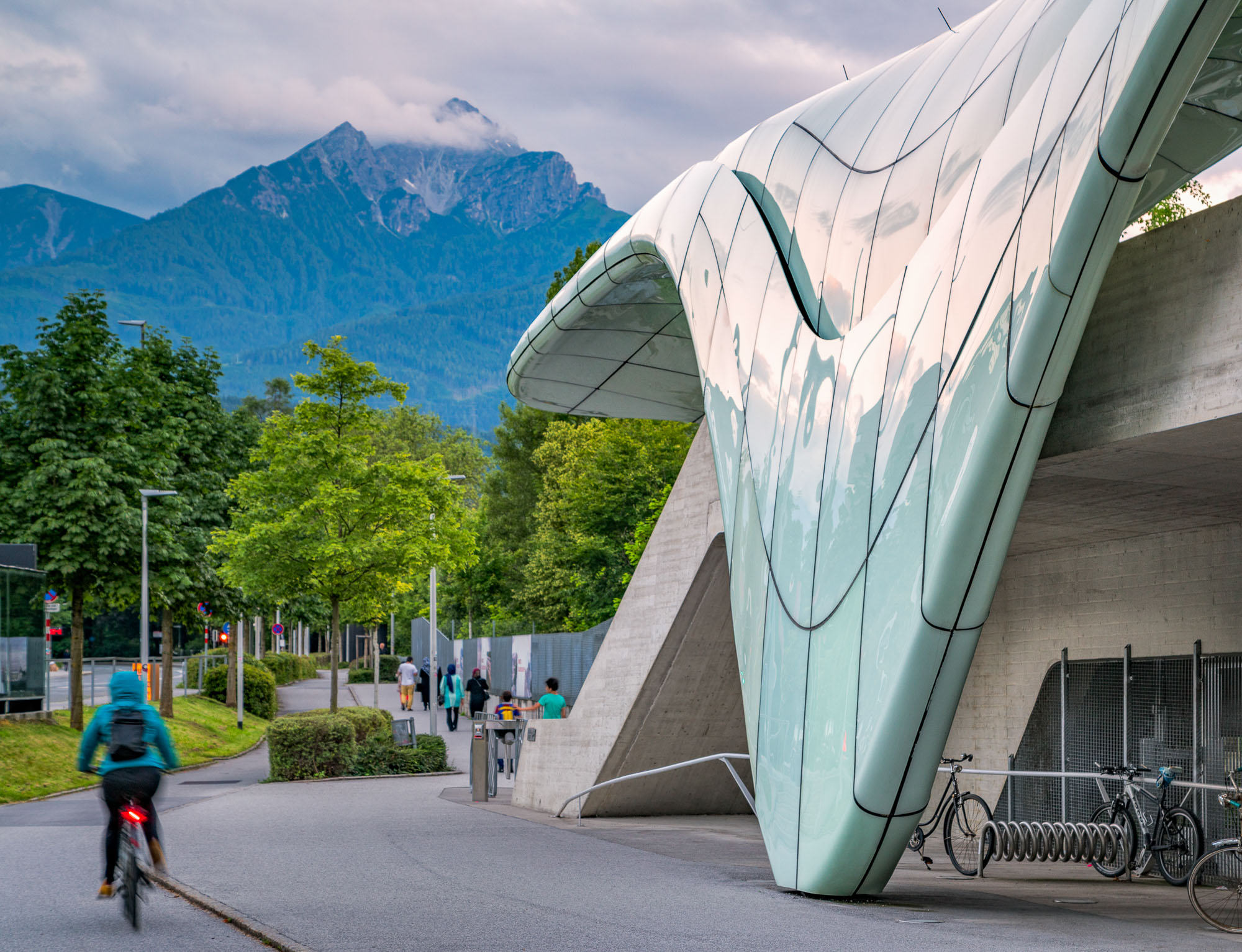 The architecture of Nordpark Railway Station in Austria