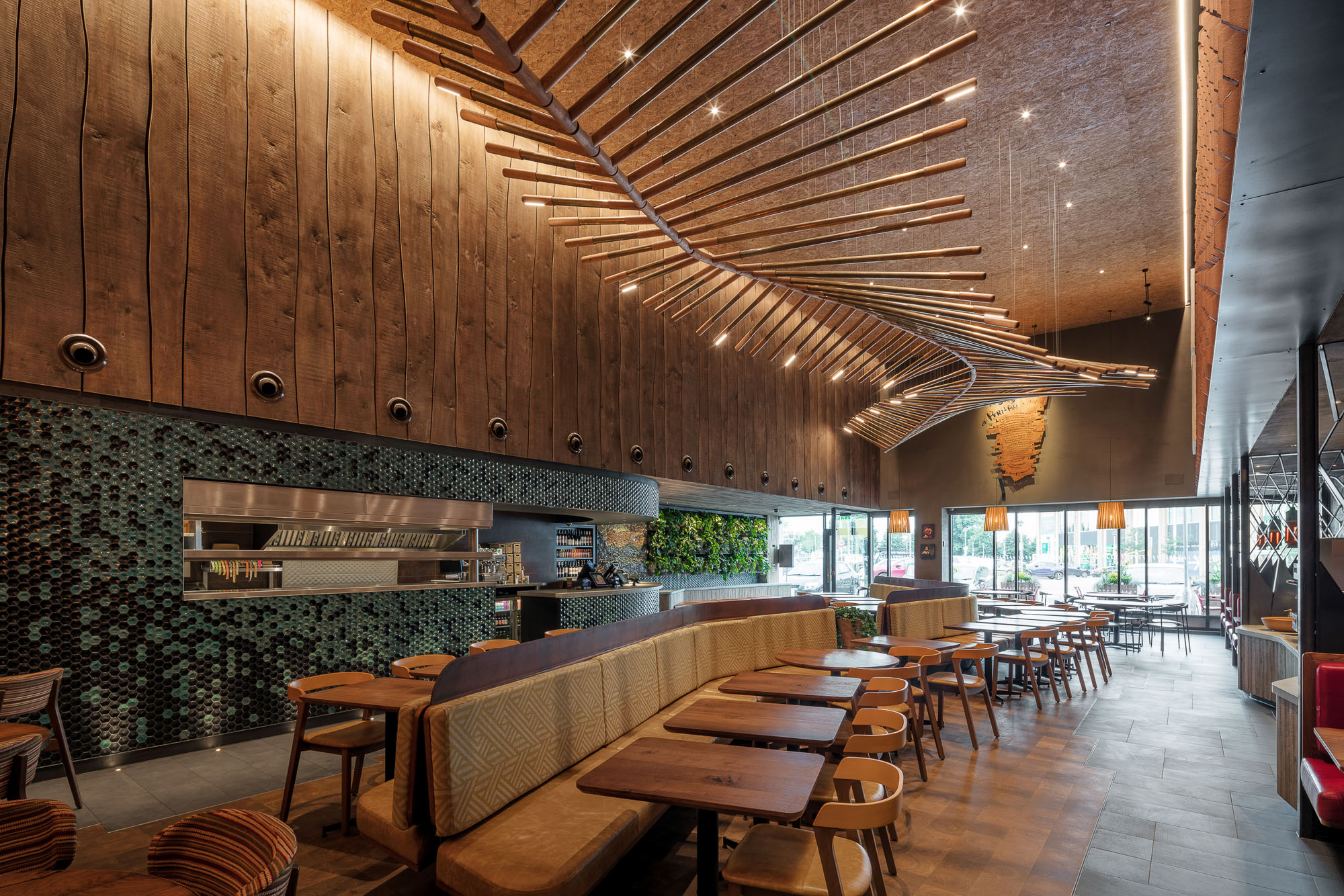 Architectural image of a restaurant interior captured from a 2-point perspective
