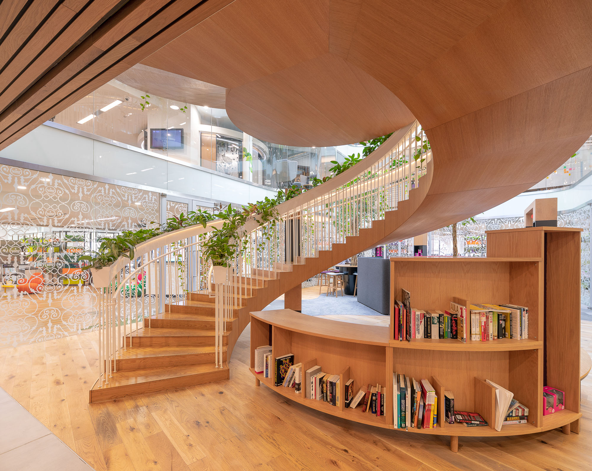 Architectural image of a wooden spiral staircase