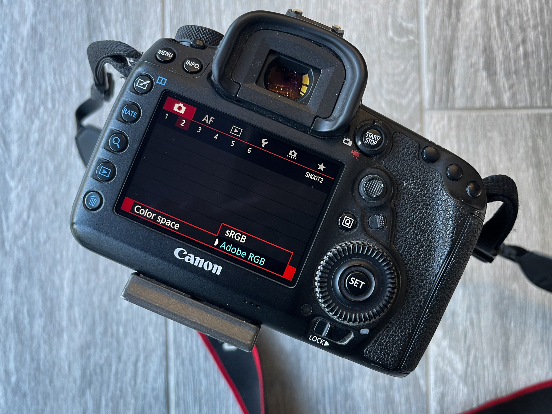 Viewing the color space options on the back of a DSLR LCD screen