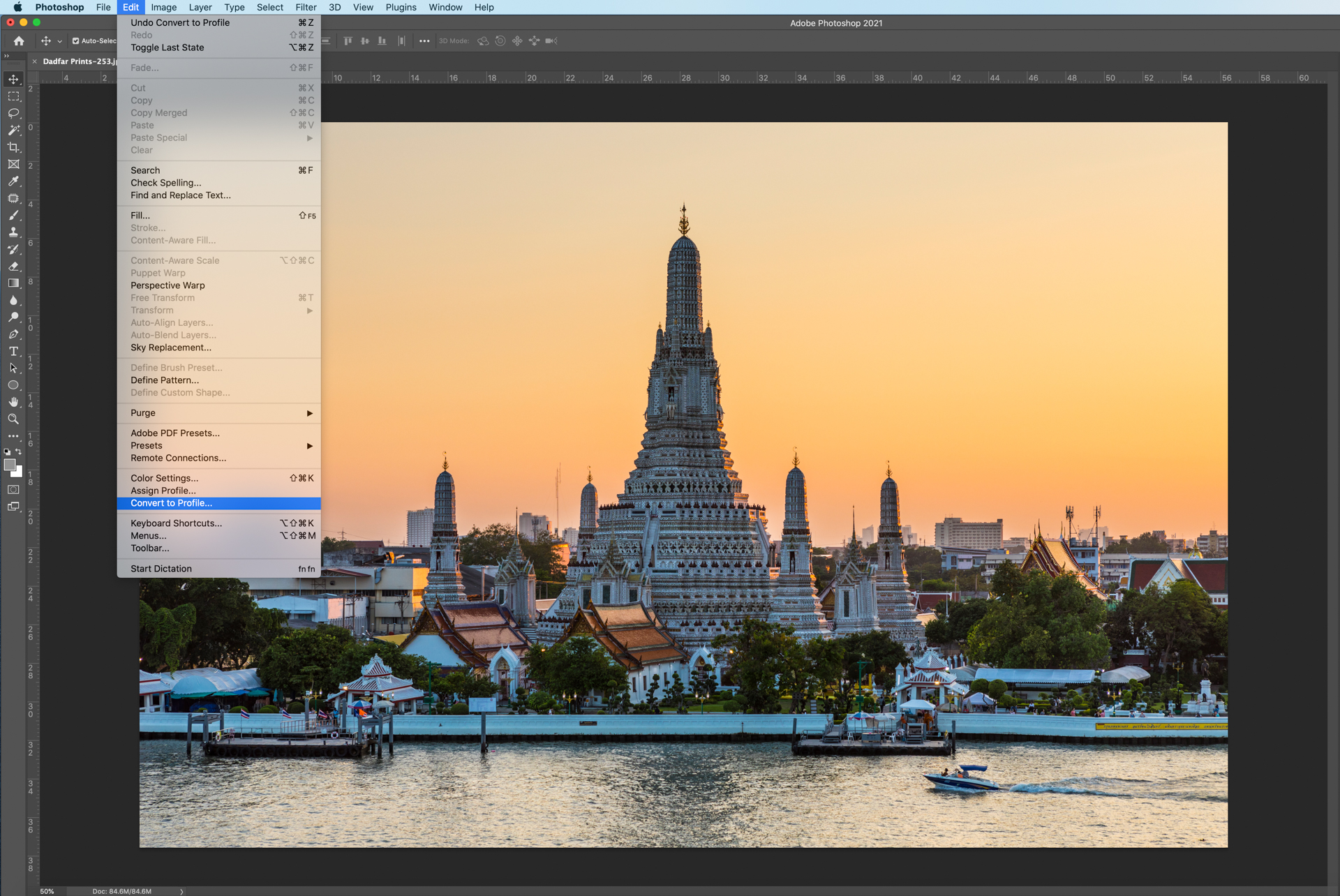 Photoshop screenshot showing how to select and change colour space