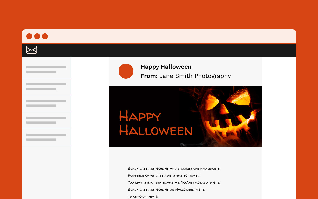 Concept image of a Halloween themed email