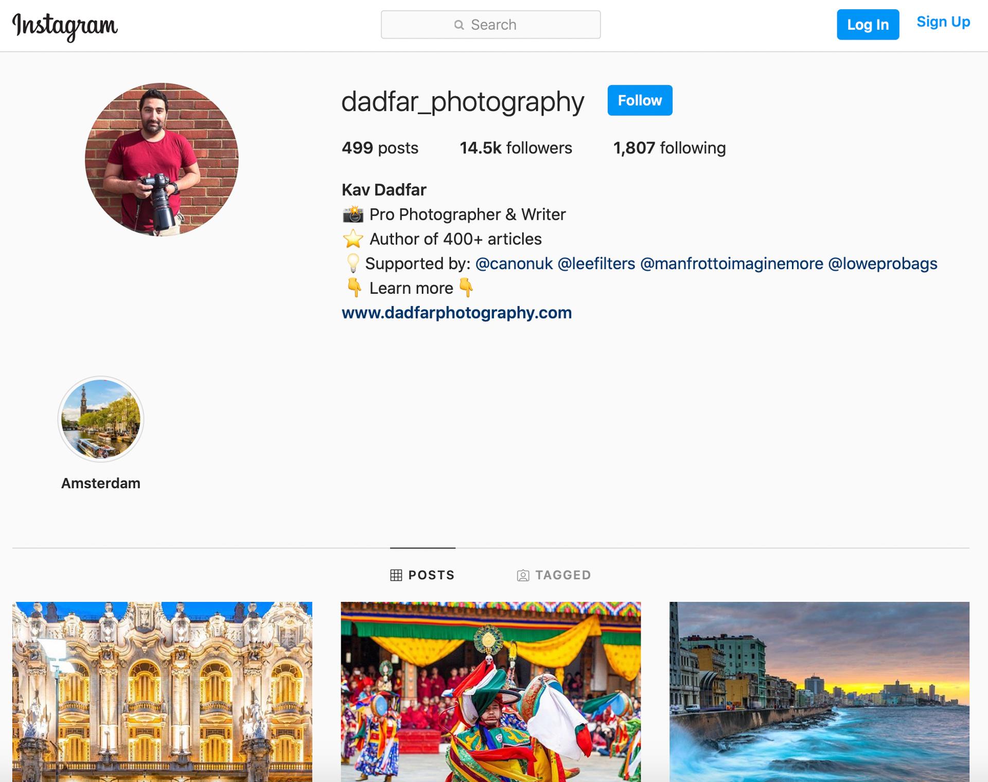 Instagram profile page of photographer Kav Dadfar