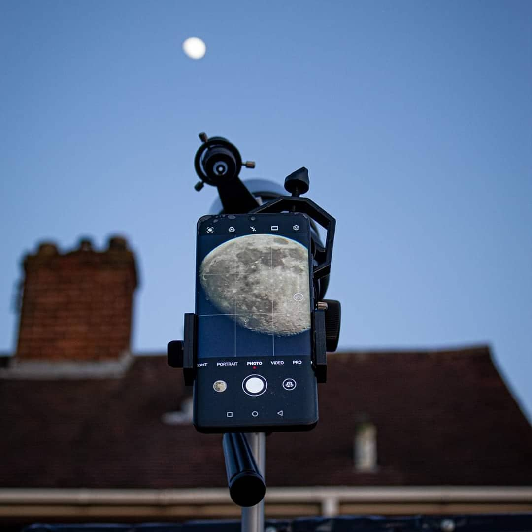 Smartphone mounted to a telescope