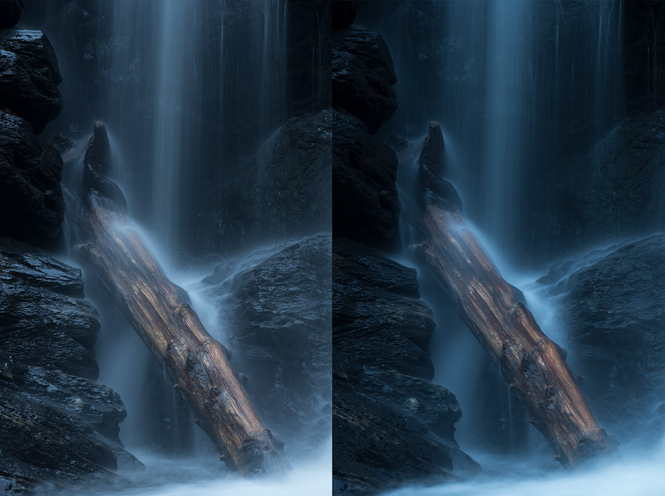 Comparison view of a long exposure shot photographed with and without a polarizer filter