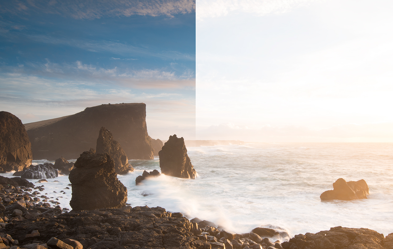 Comparison showing a landscape scene captured with a GND filter and without a GND filter