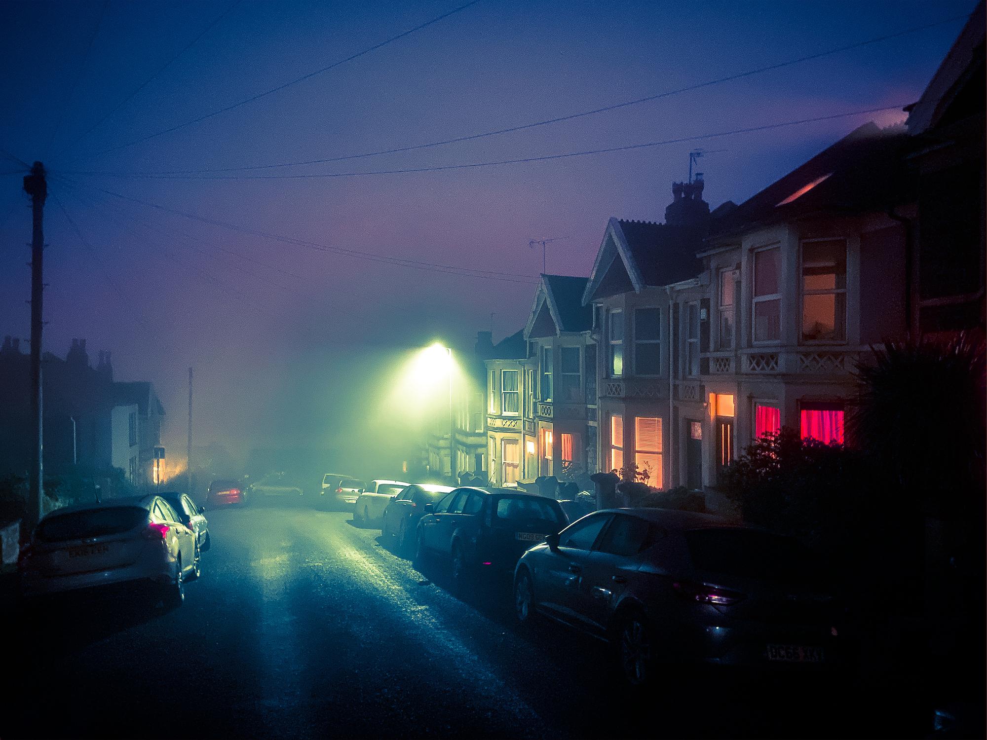 A Bristol street on a misty night