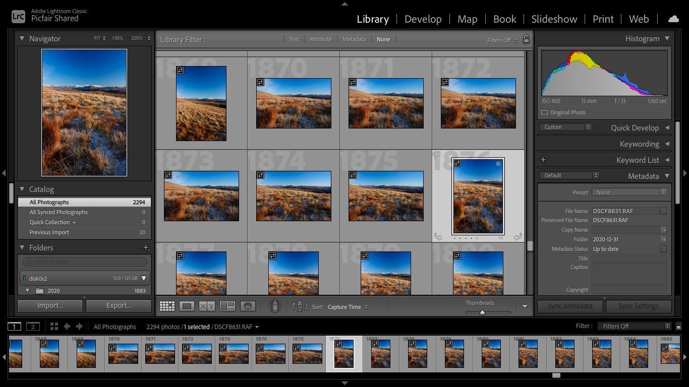 Screenshot of Lightroom workflow