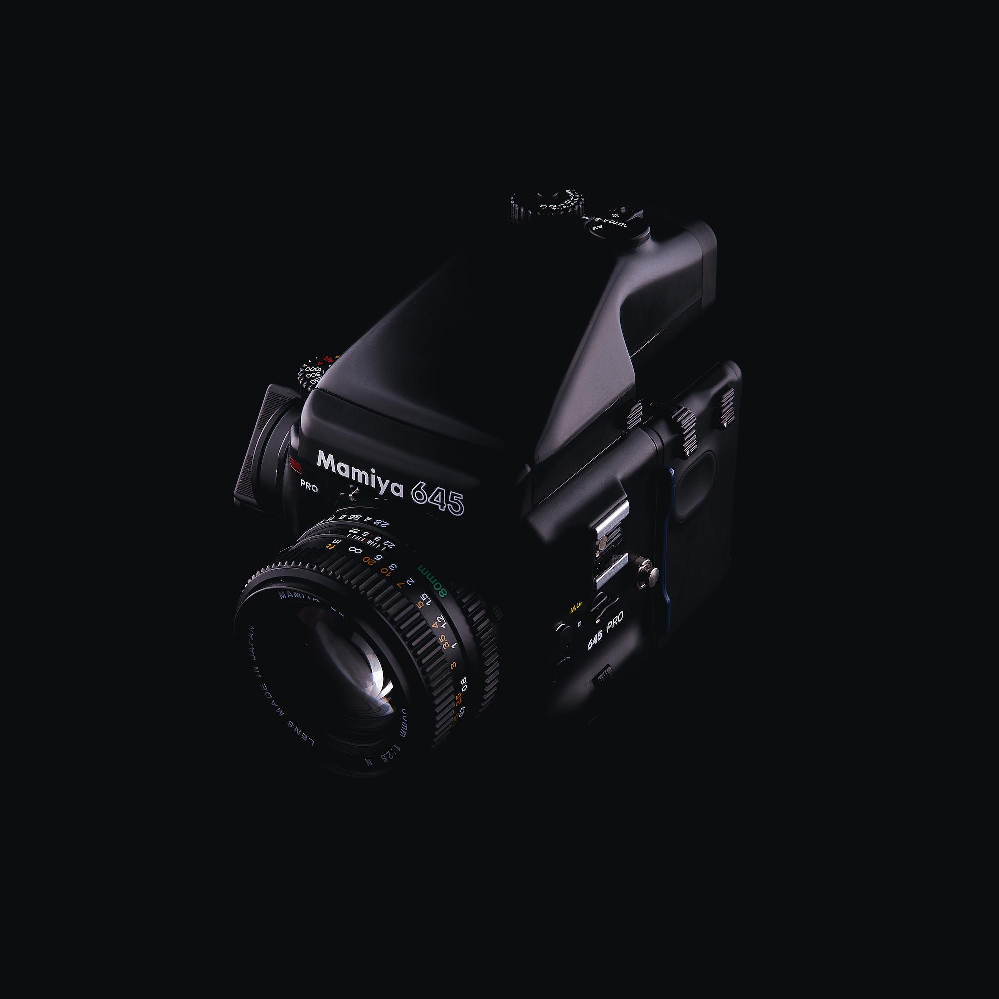 A Mamiya medium format camera