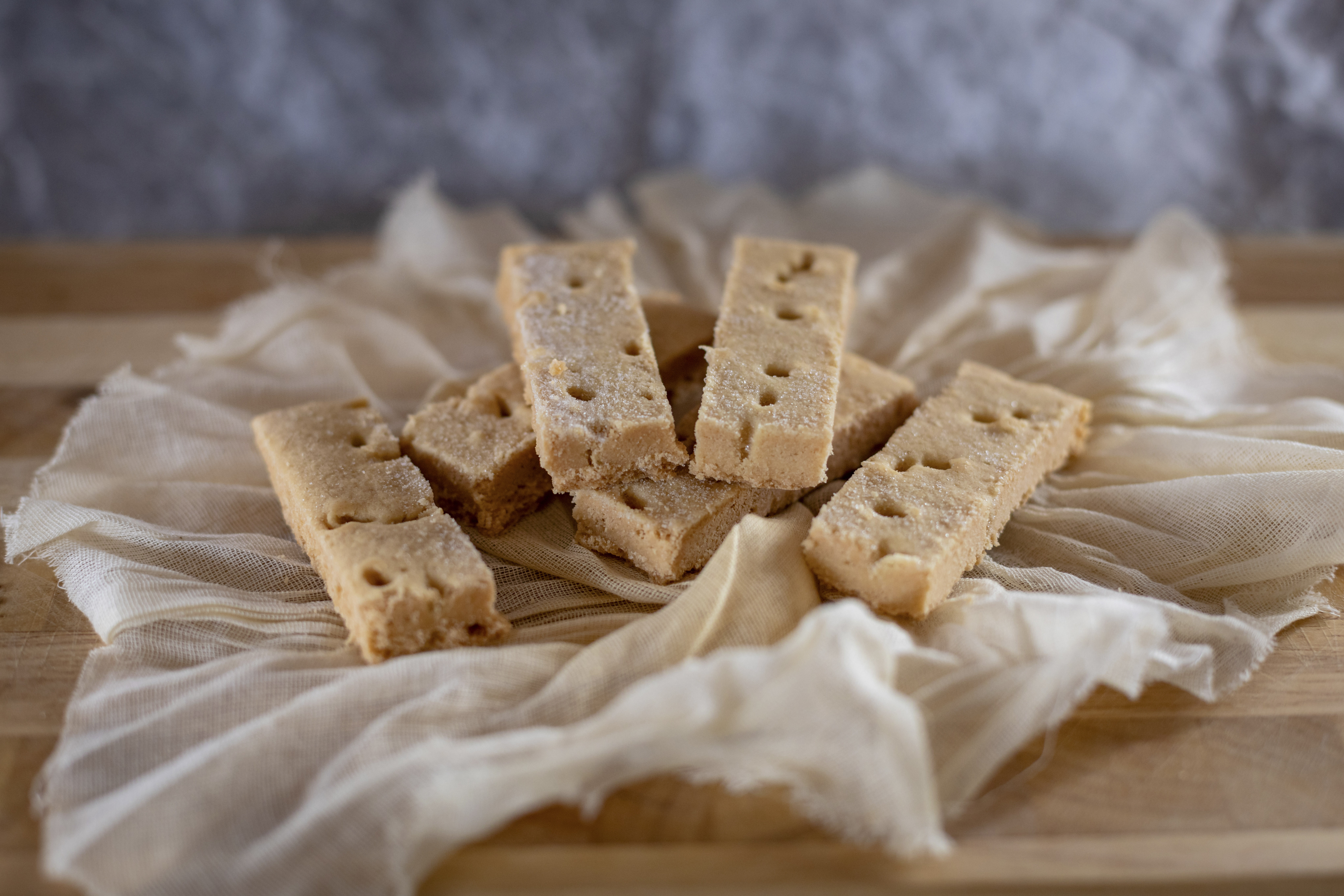 Shortbread against a rustic background