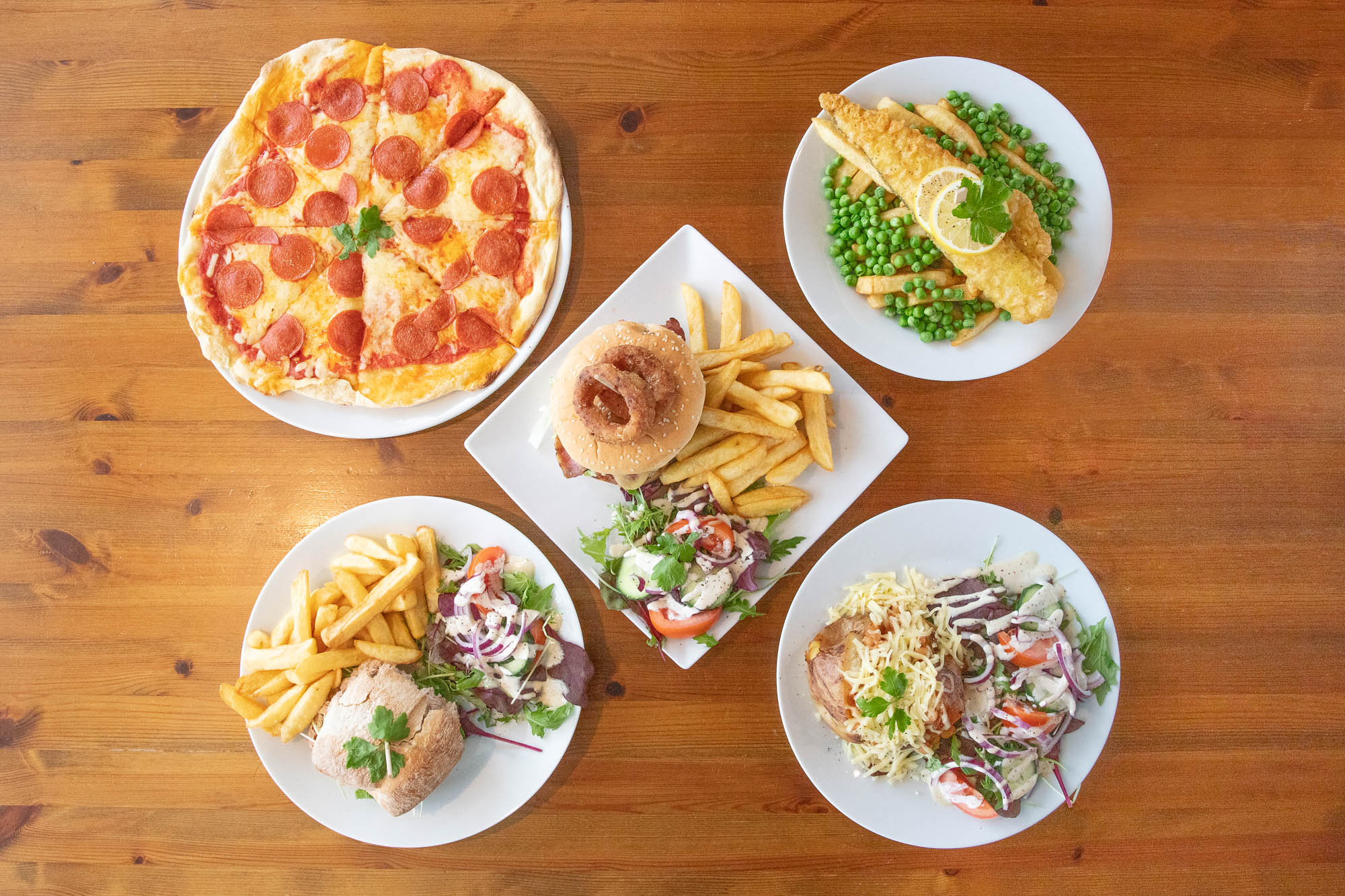 Overhead view of an assortment of dishes