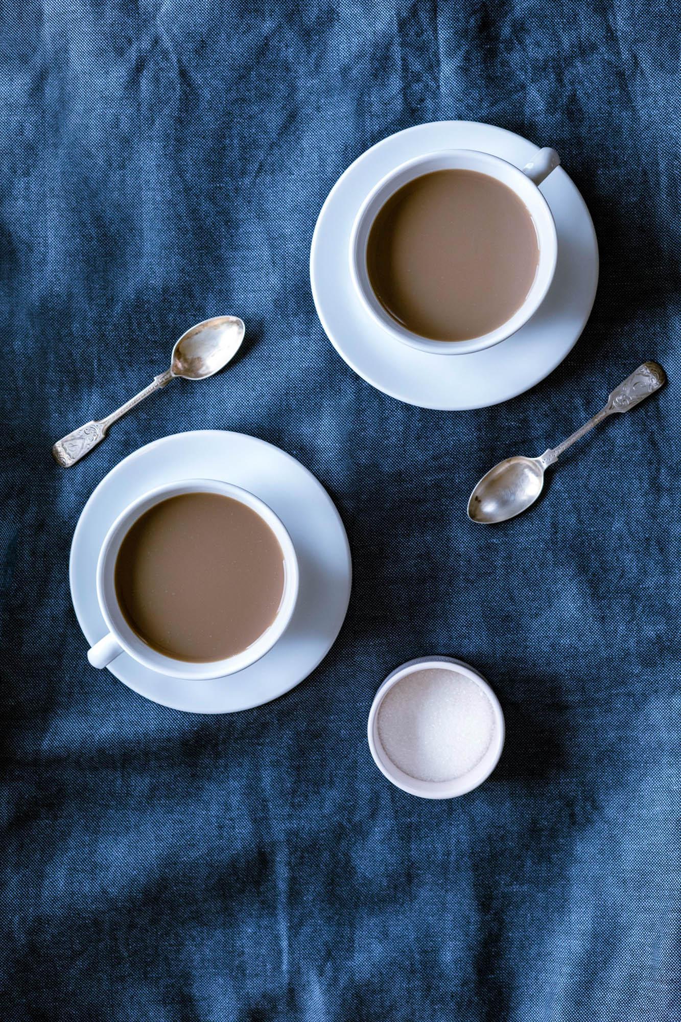 Overhead view of tea in teacups