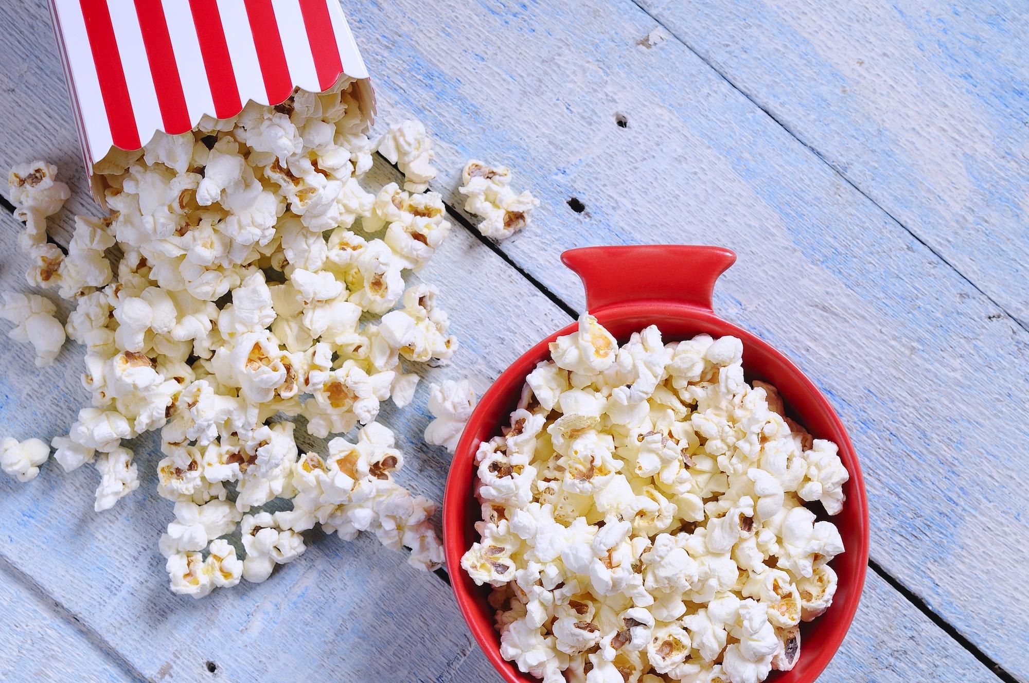 Overhead view of popcorn