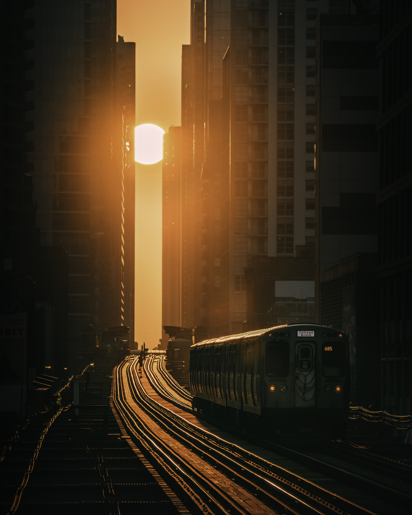 A train makes its way between towering buildings in the golden light of the sun, Chicago, USA